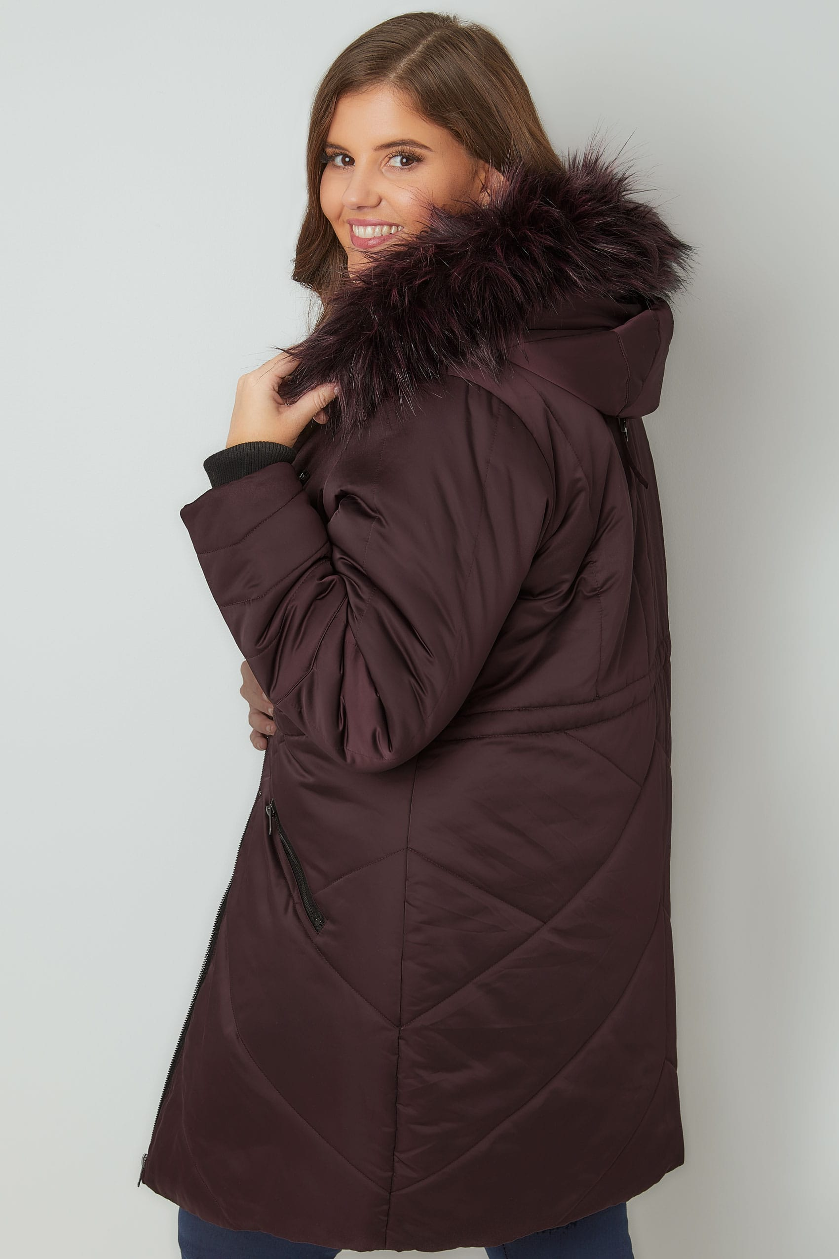 Purple Padded Parka Jacket With Faux Fur Hood, Plus size 16 to 36