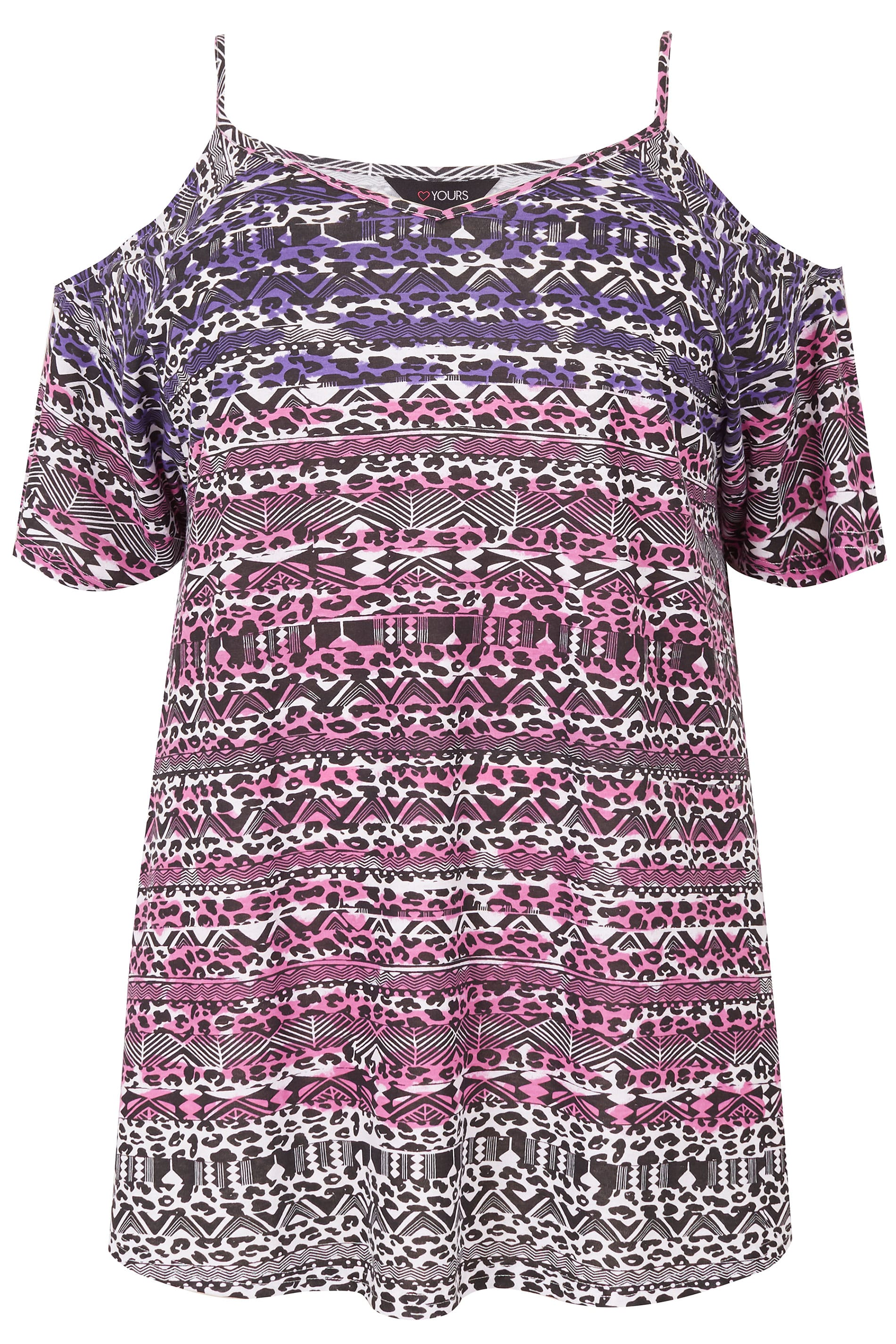 de2976de7dd28f Purple   Pink Printed Cold Shoulder Top
