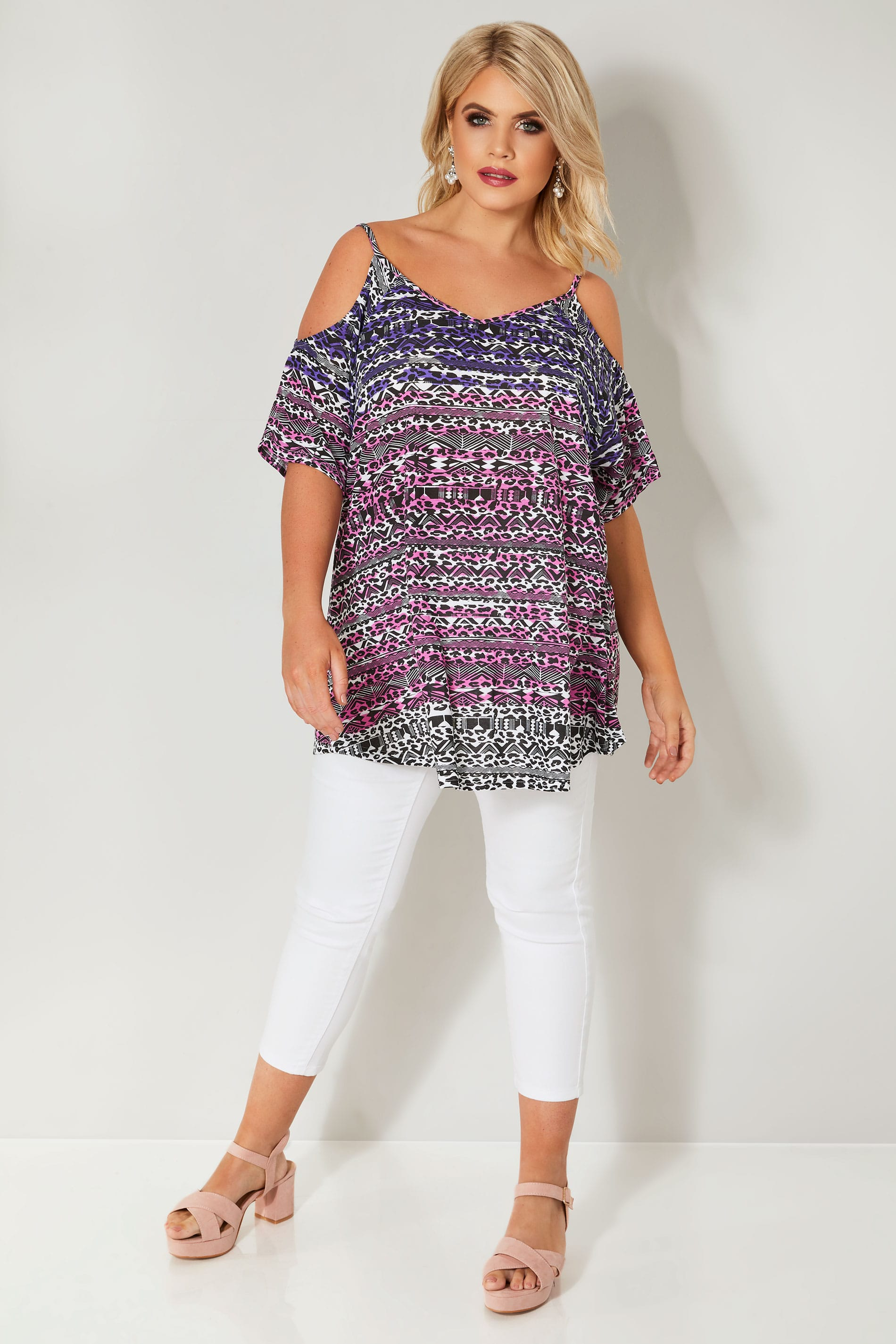 Purple & Pink Printed Cold Shoulder Top, plus size 16 to 36
