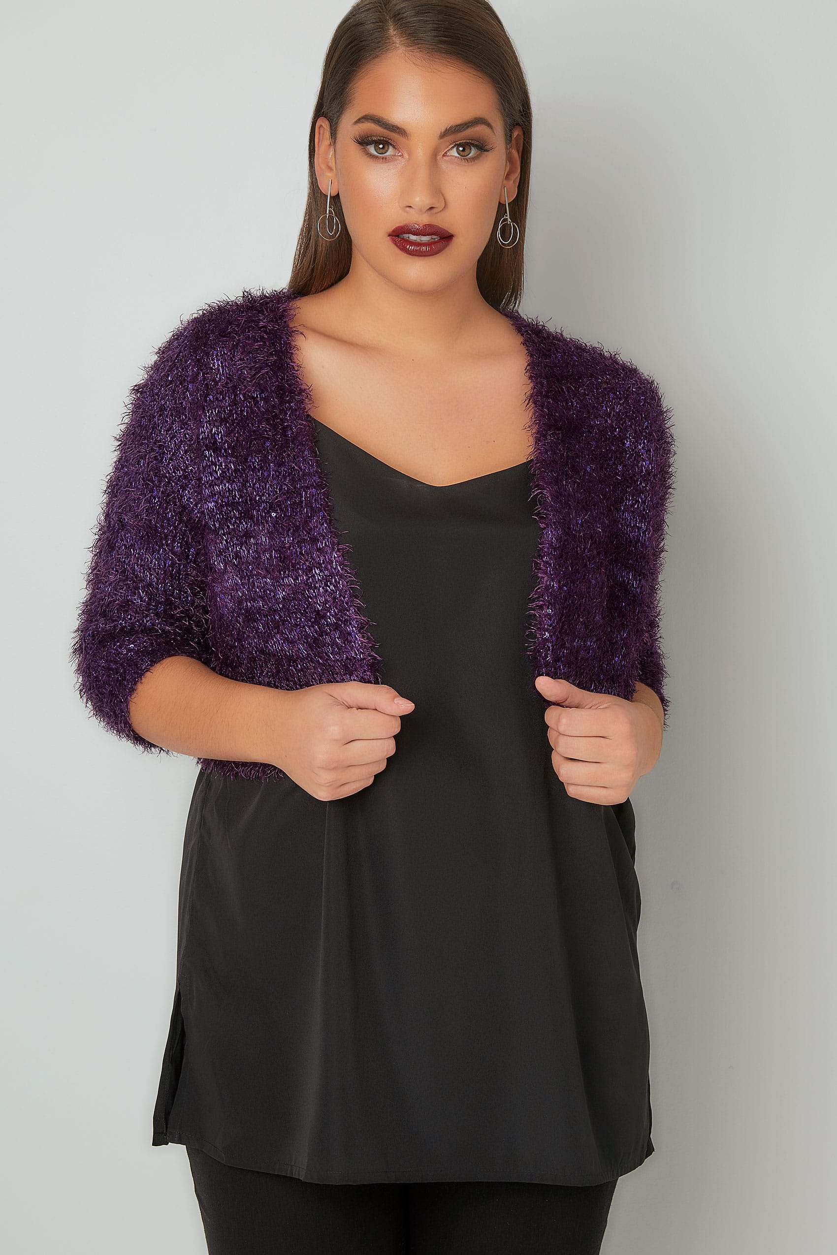 Purple Sequin Embellished Eyelash Shrug, Plus size 16 to 36