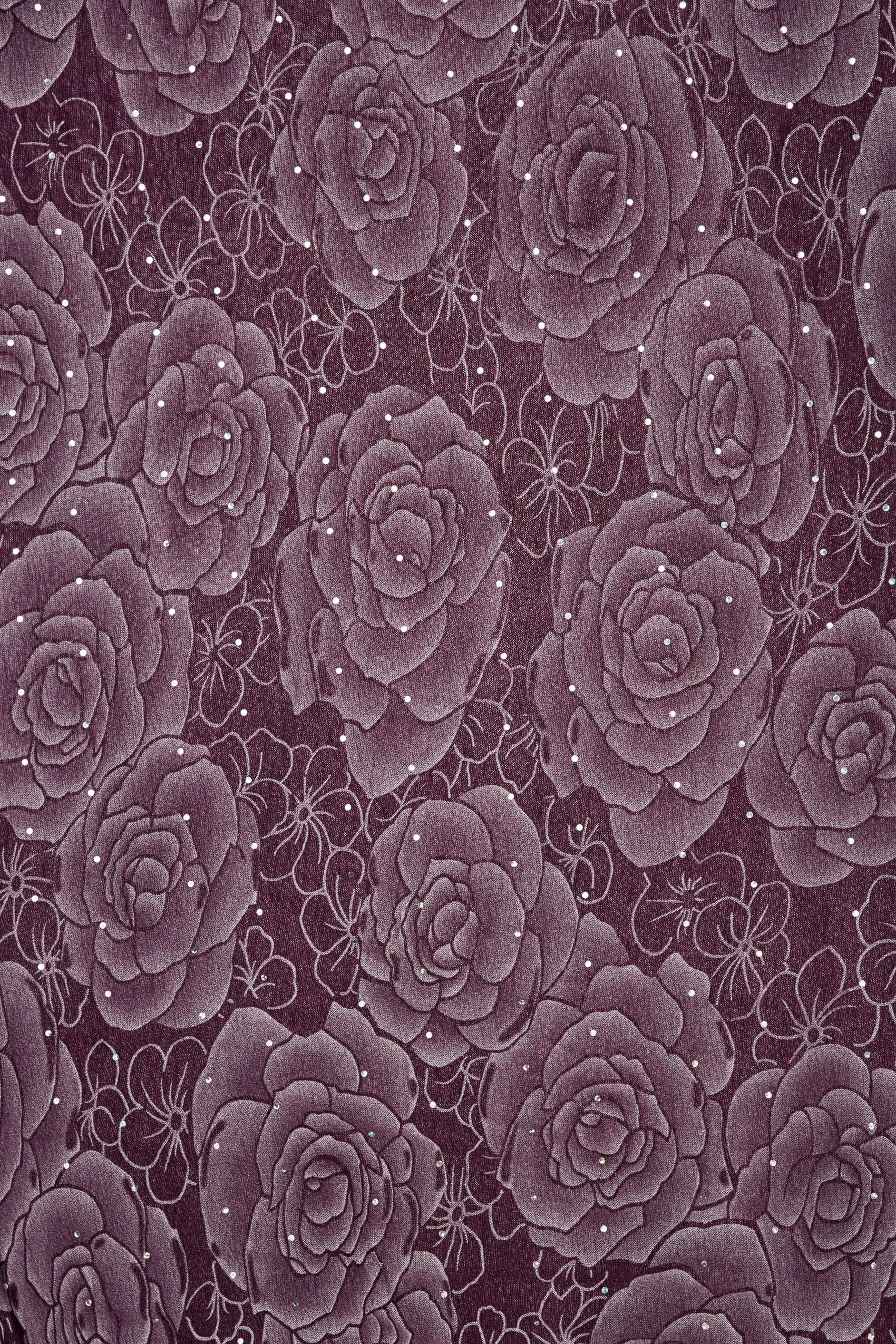 Purple sheer floral print scarf with diamante details for Buy here pay later