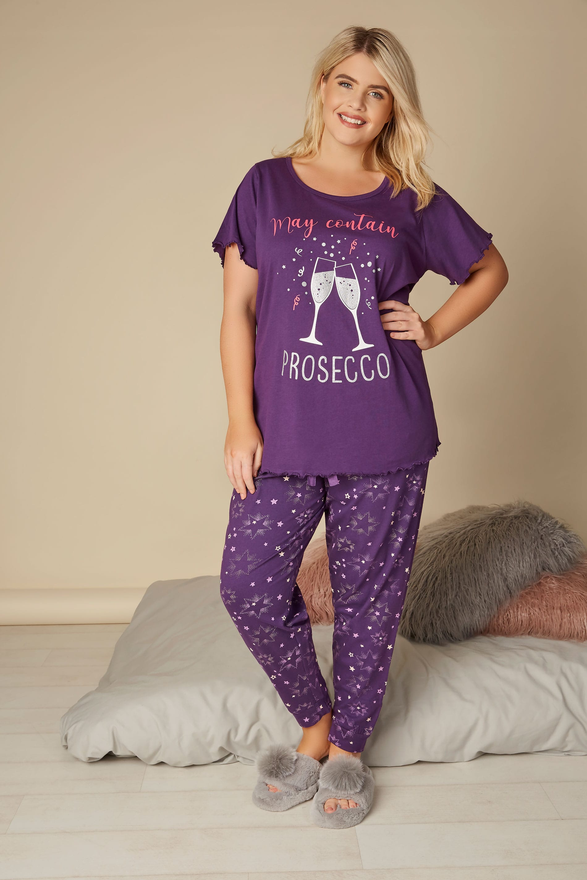 purple star print cuffed pyjama bottoms plus size 16 to 36. Black Bedroom Furniture Sets. Home Design Ideas