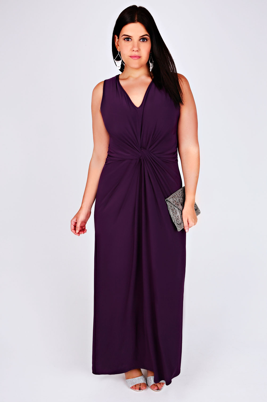 Purple v neck maxi dress with twisted knot front detail for Purple maxi dresses for weddings
