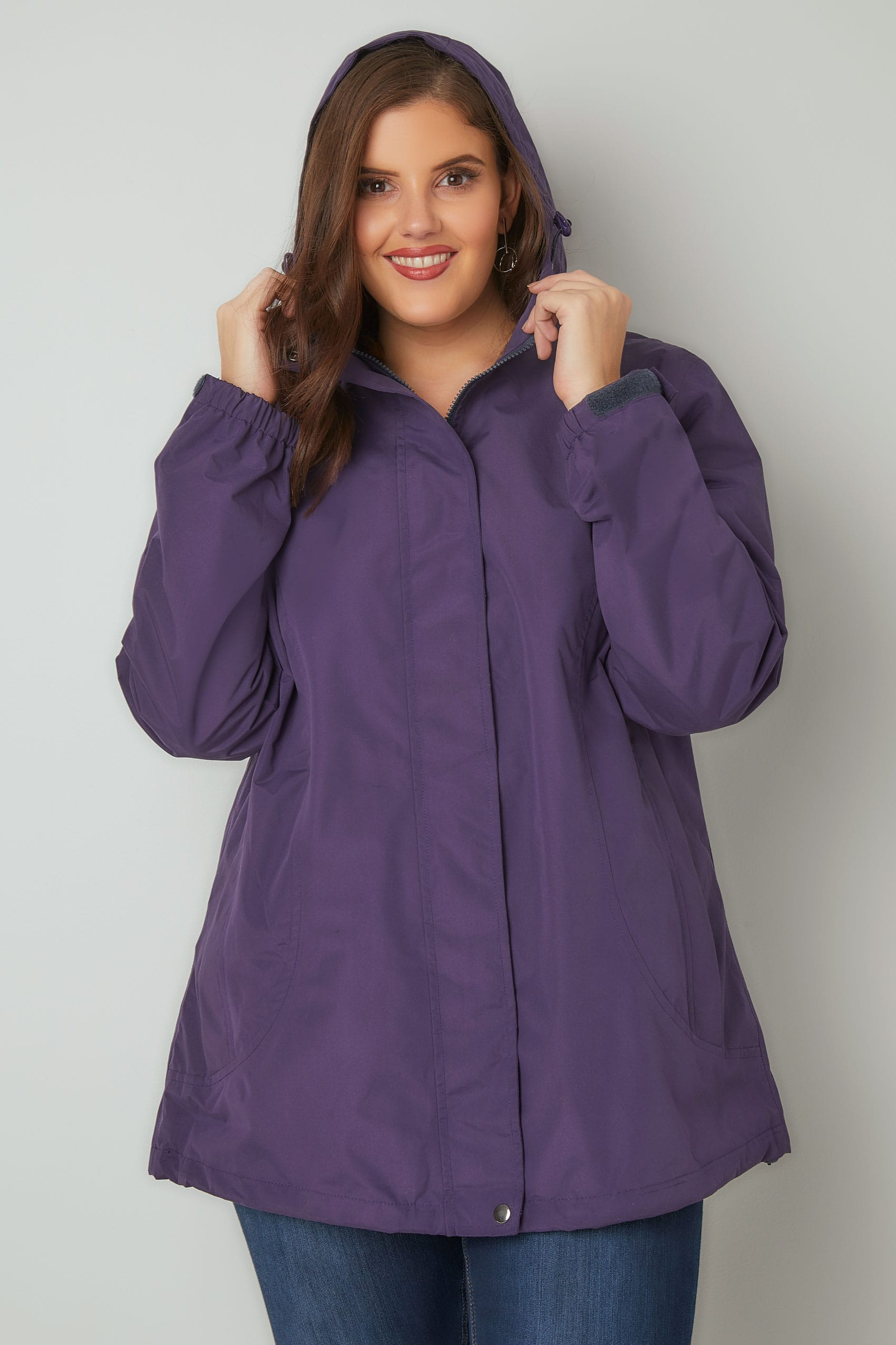 purple waterproof windproof jacket with hood plus size 16 to 36. Black Bedroom Furniture Sets. Home Design Ideas