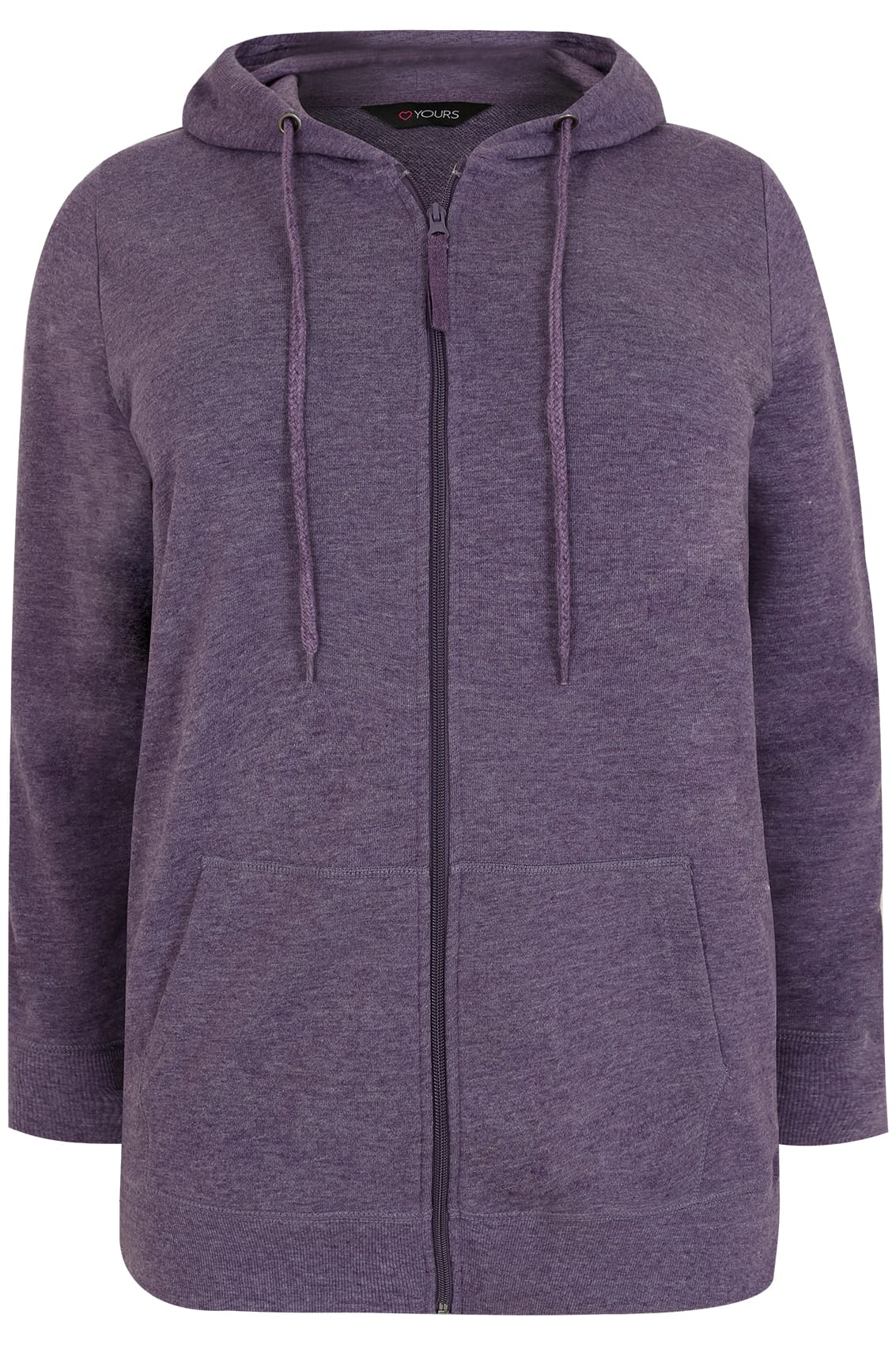 Purple Zip Through Hoodie With Pockets, Plus size 16 to 36