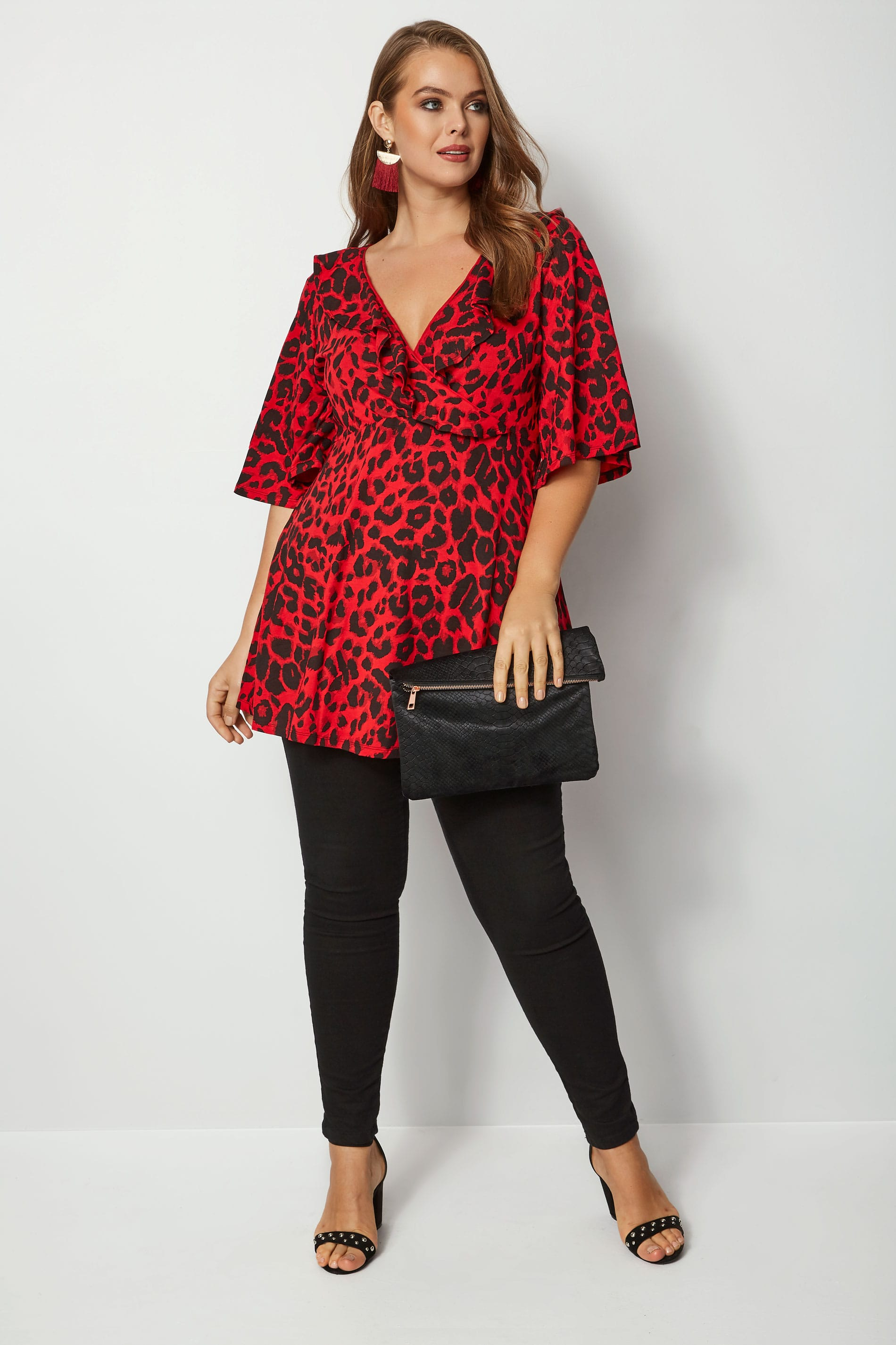 Red Animal Print Frill Wrap Top Plus Size 16 To 36