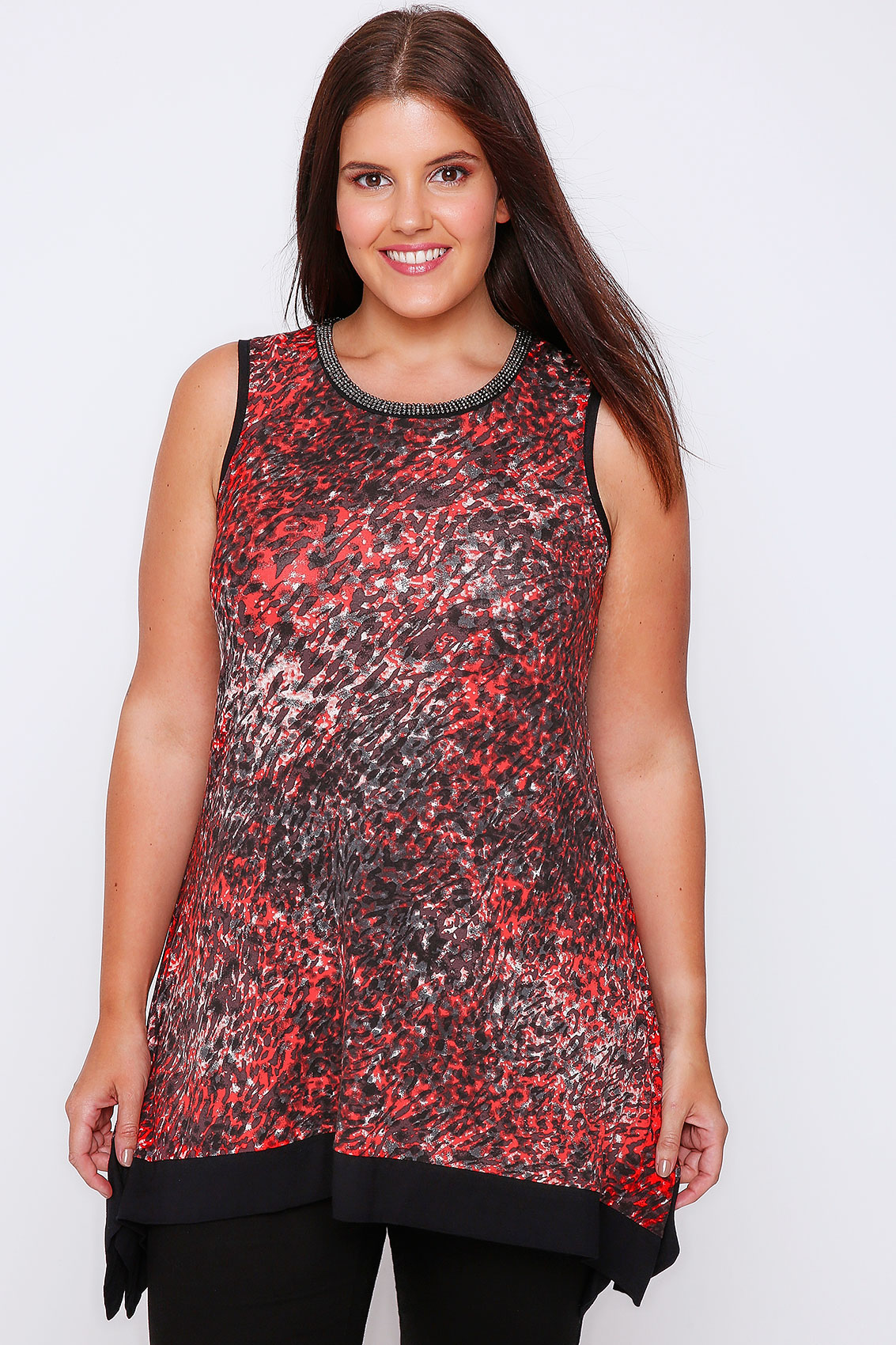 red animal print hanky hem sleeveless top with beaded neckline plus size 16 18 20 22 24 26 28 30 32. Black Bedroom Furniture Sets. Home Design Ideas