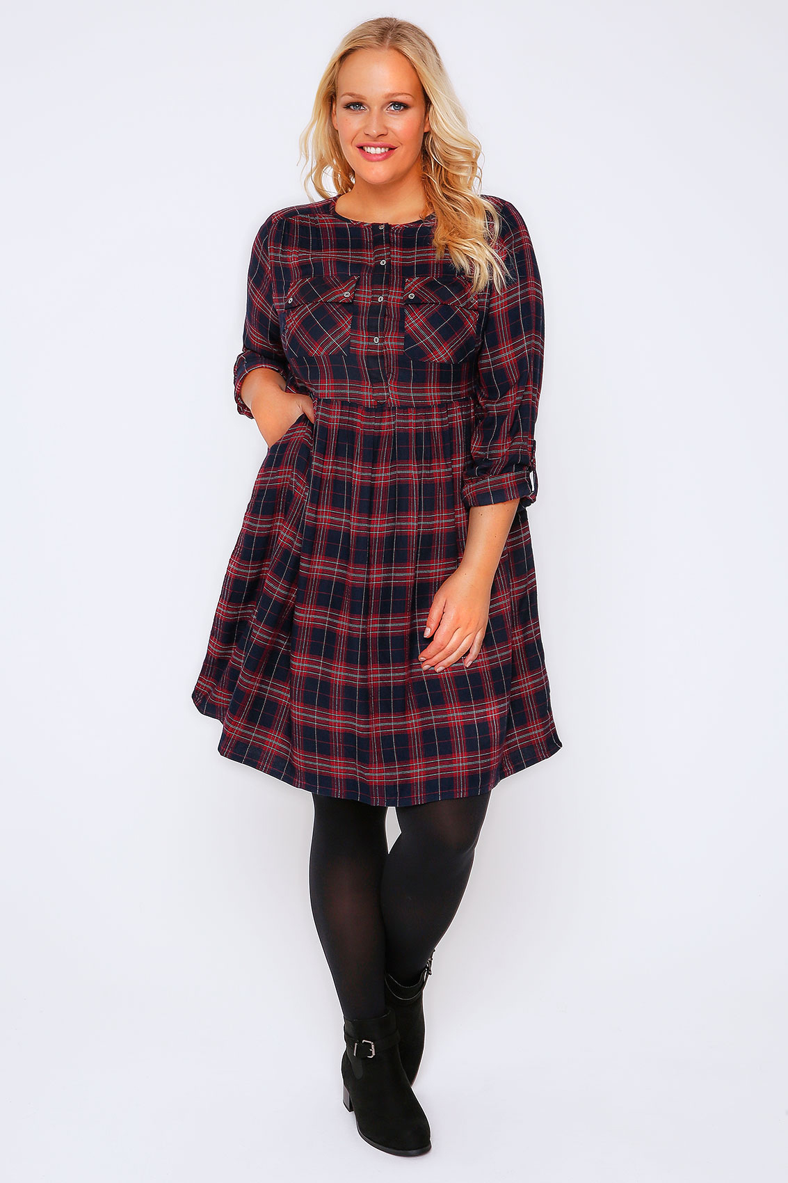 Red Black Check Shirt Dress With Tie Waist Plus Size 16