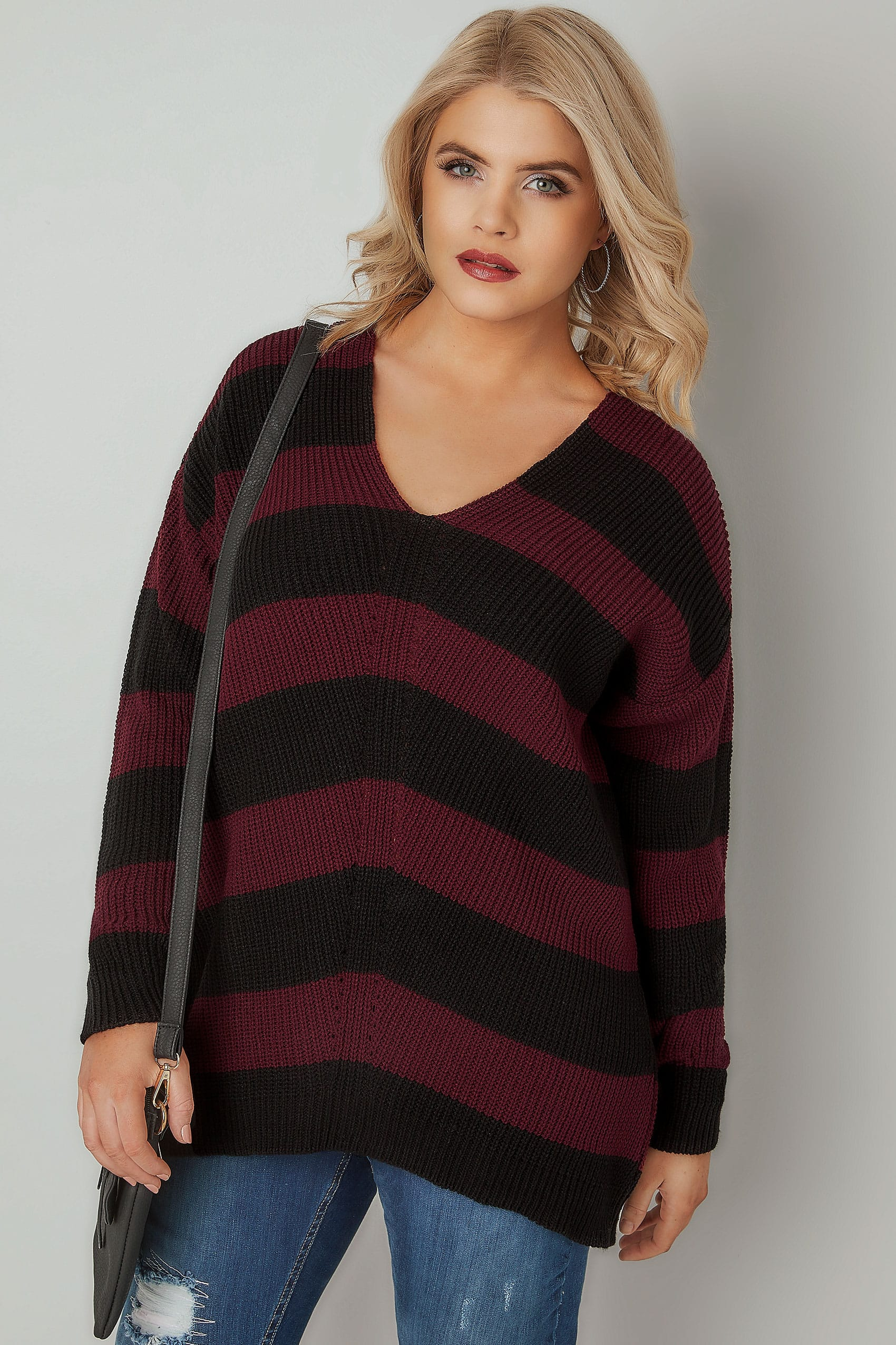 red black chevron striped longline jumper with curved hem plus size 16 to 36. Black Bedroom Furniture Sets. Home Design Ideas