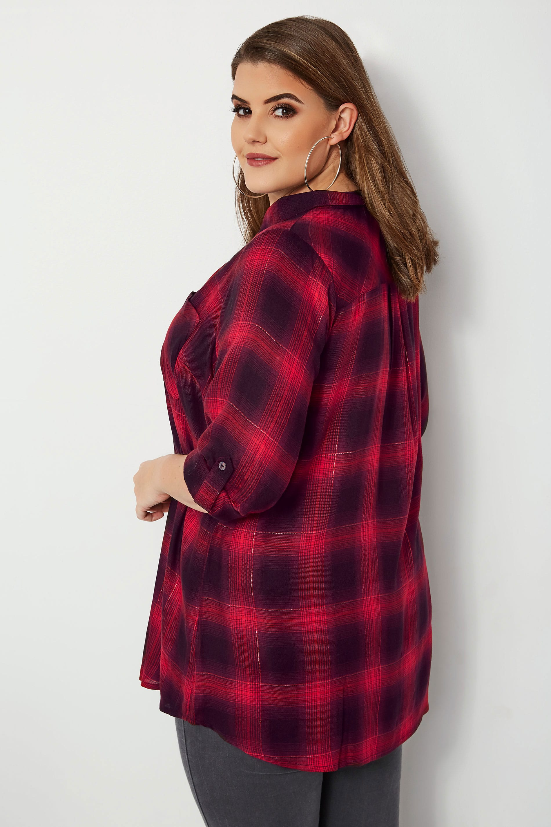 Red black oversized checked shirt with v neck metallic - Add background image to div ...