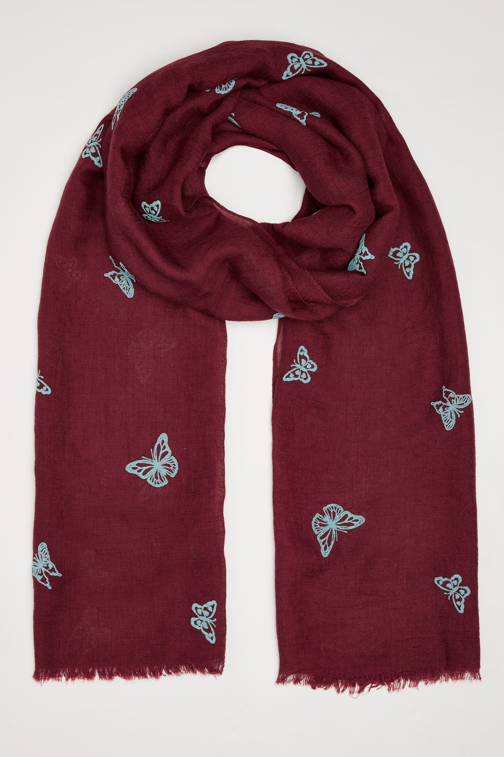 Red Amp Blue Butterfly Print Scarf