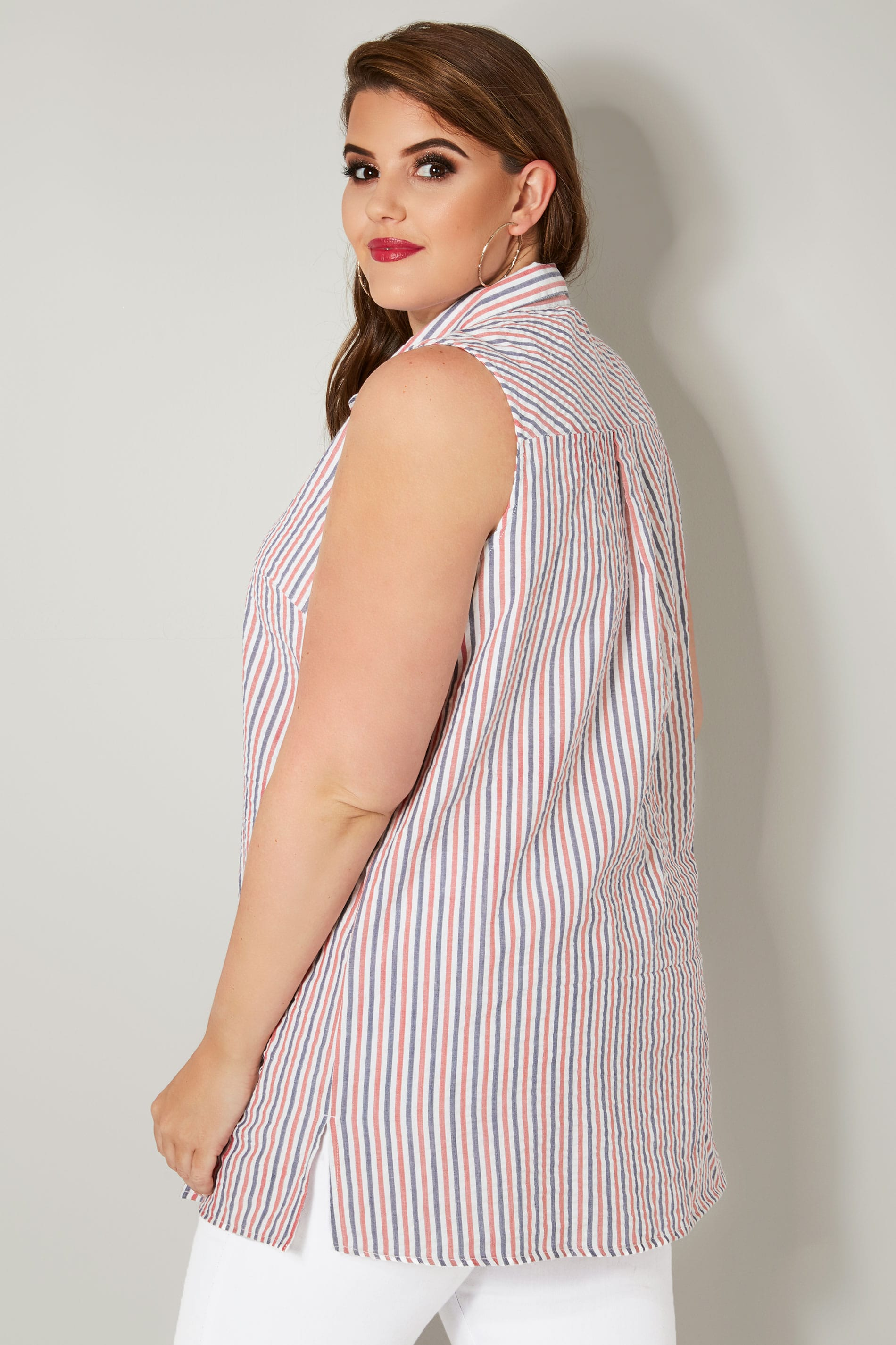 Red & Blue Striped Sleeveless Shirt, plus size 16 to 32