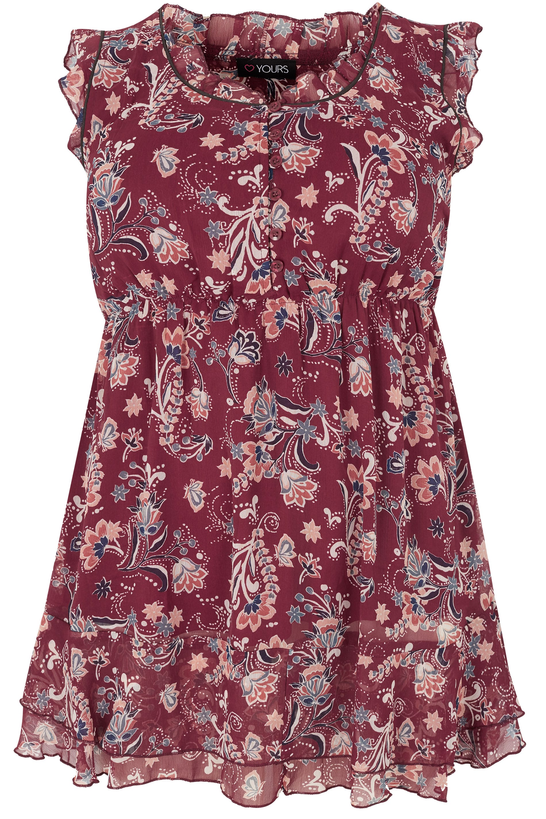 Red floral print chiffon sleeveless top with elasticated for Sites like touch of modern