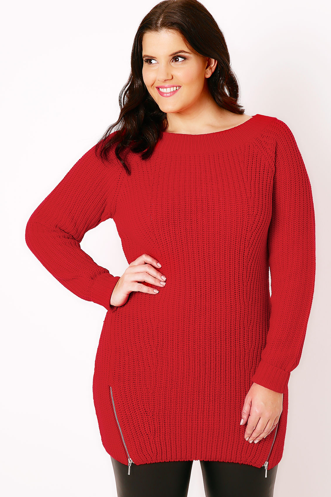 red knitted jumper with zip hem detail plus size 16 to 36. Black Bedroom Furniture Sets. Home Design Ideas