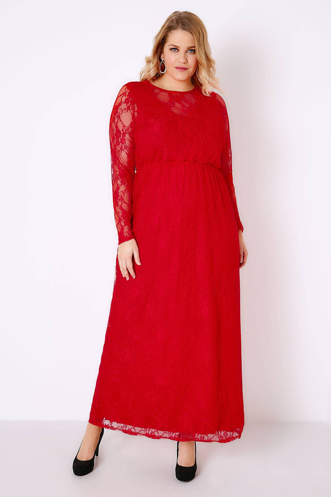 Red Lace Overlay Maxi Dress With Elasticated Waist, Plus ...