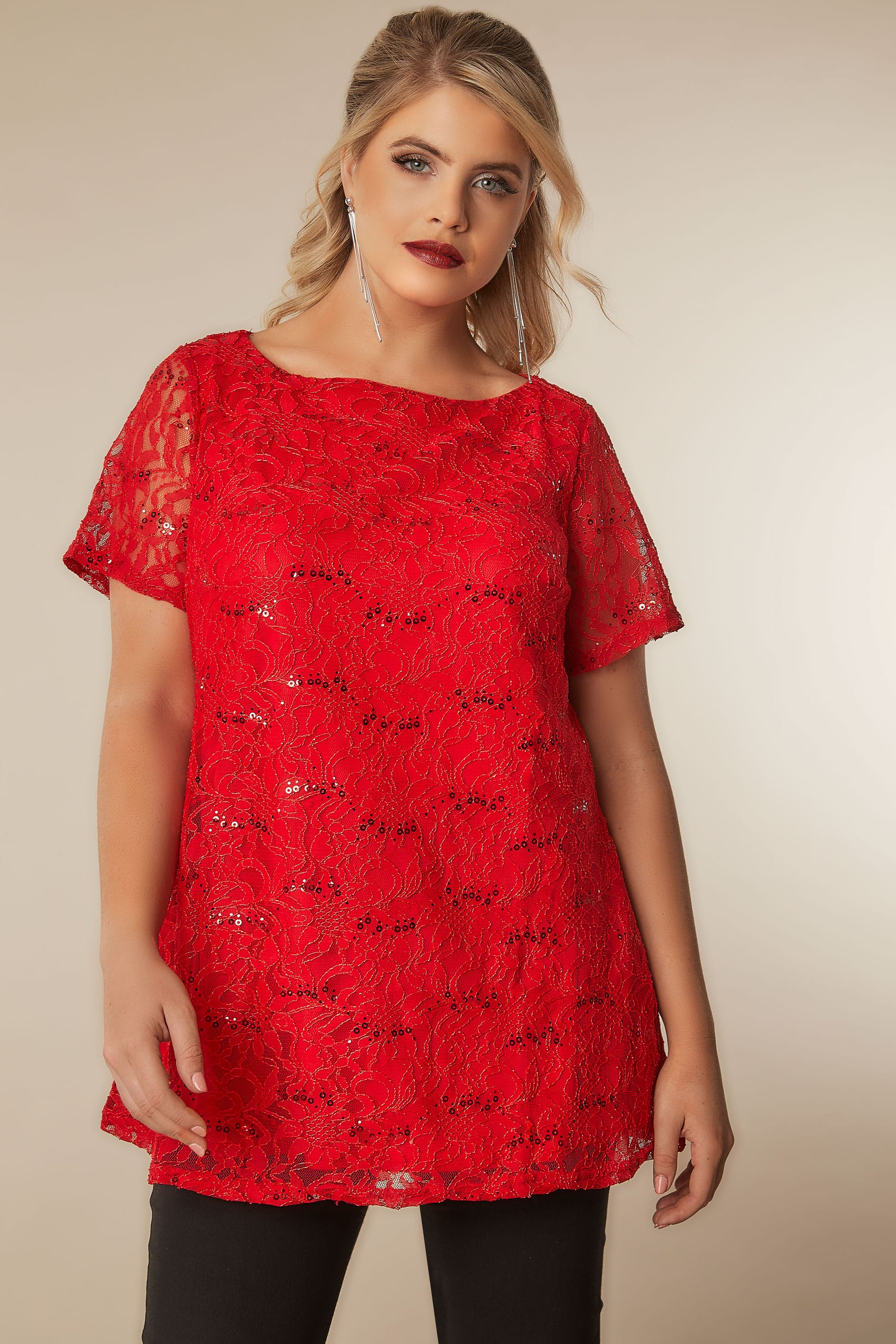 Red Lace Shell Top With Sequin Details, Plus size 16 to 36