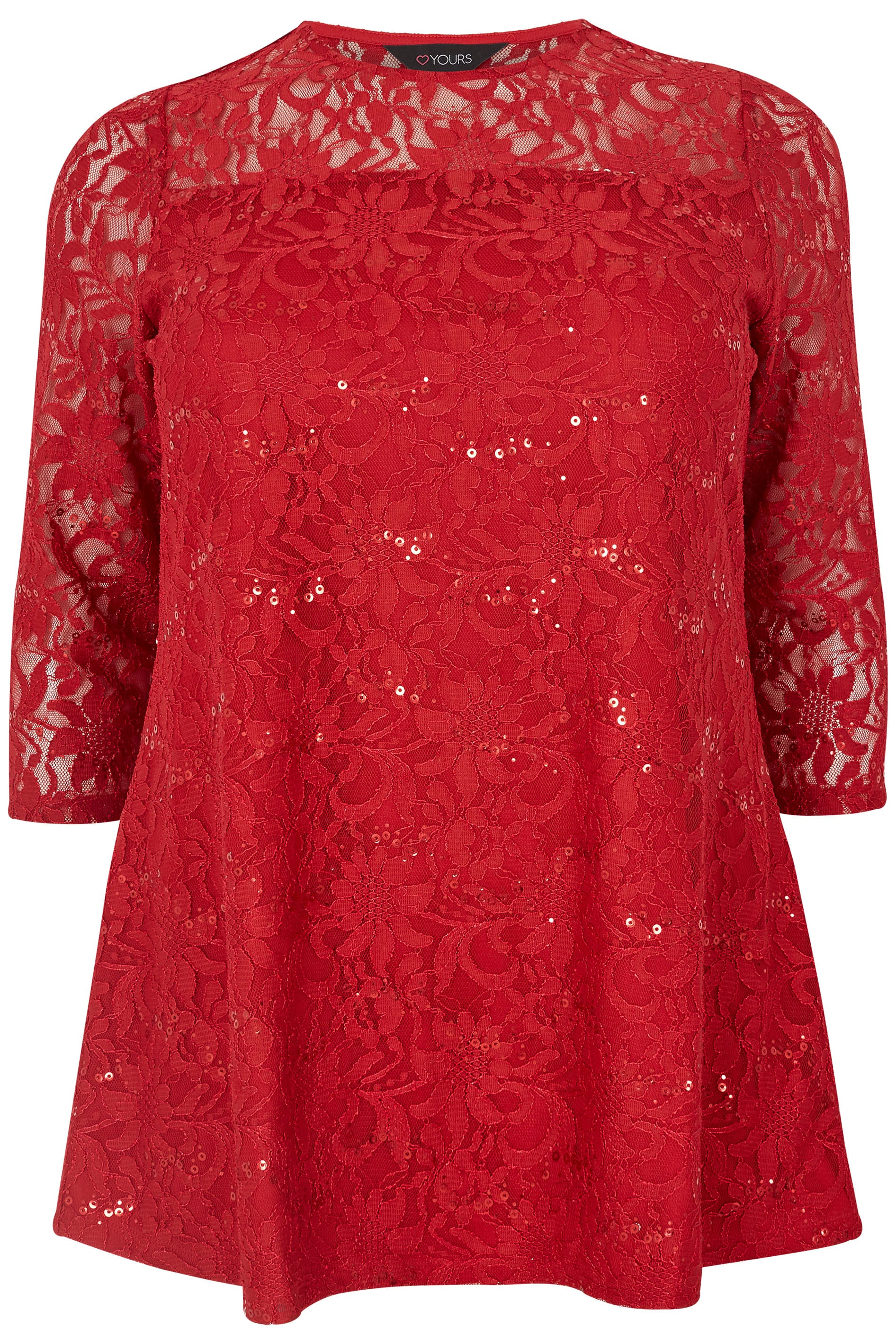Red Lace Swing Top, Plus size 16 to 36