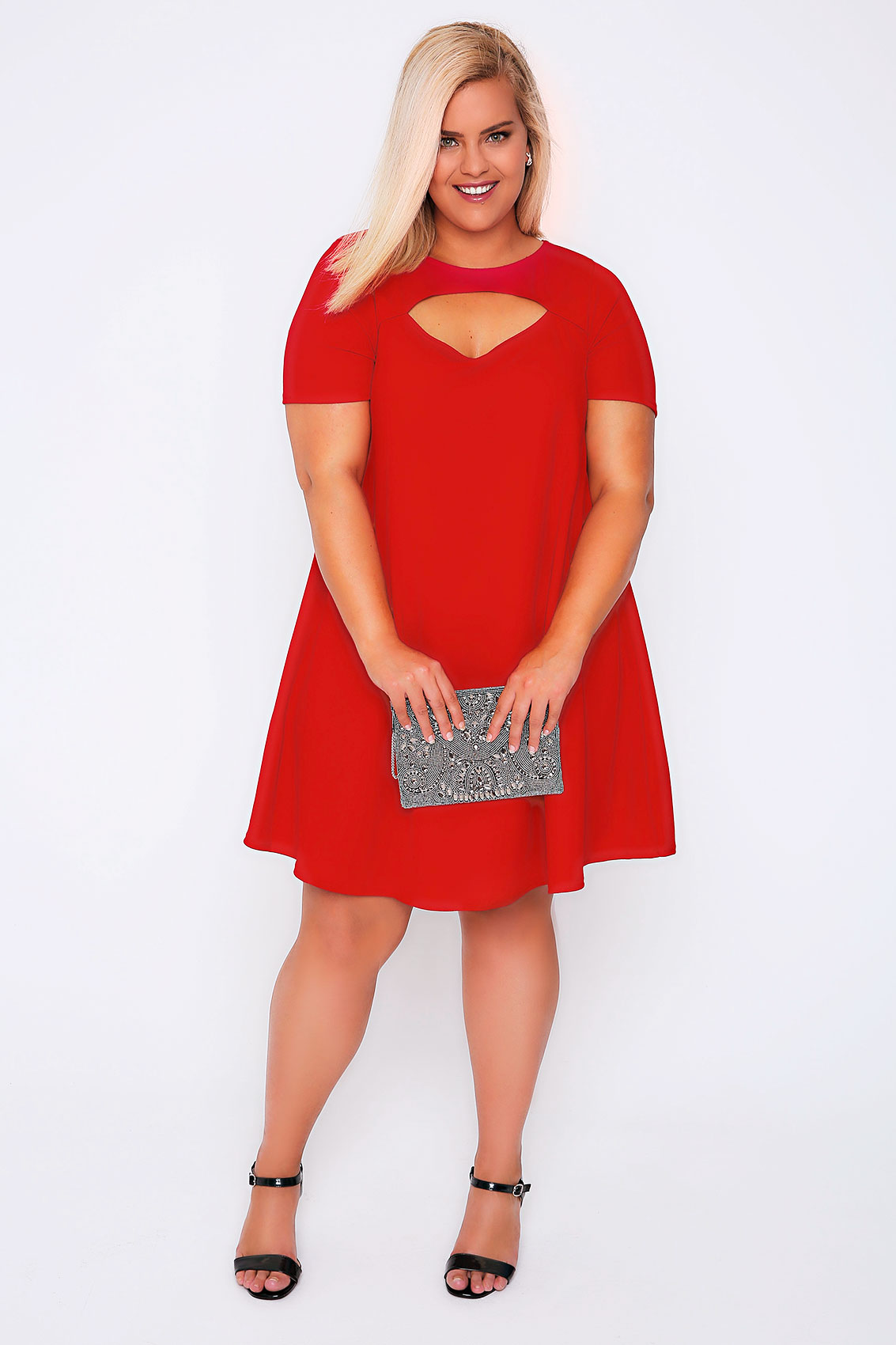 red swing dress plus size red short sleeved swing dress with cut out detail plus