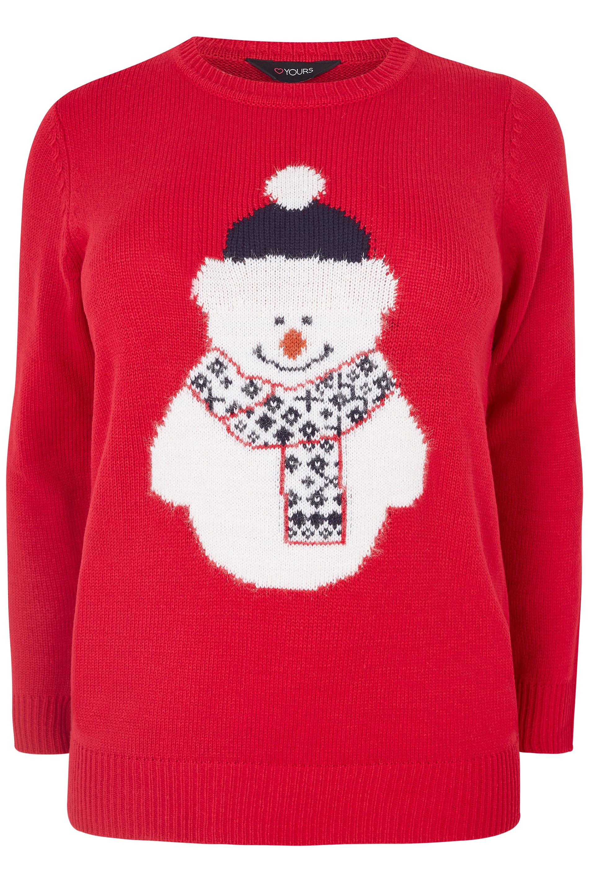 Kersttrui 68.Red Snowman Christmas Jumper Plus Size 16 To 36