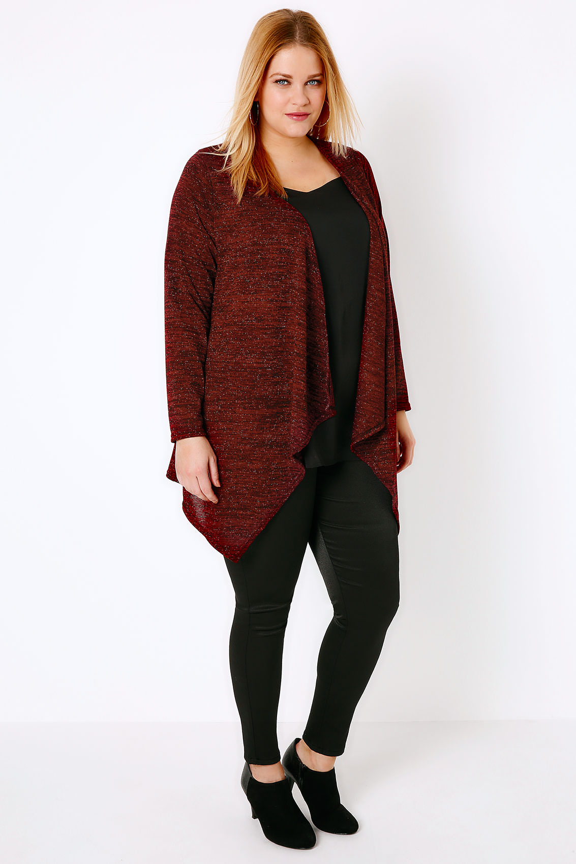 Red Sparkle Cardigan With Waterfall Front, Plus Size 16 to 36