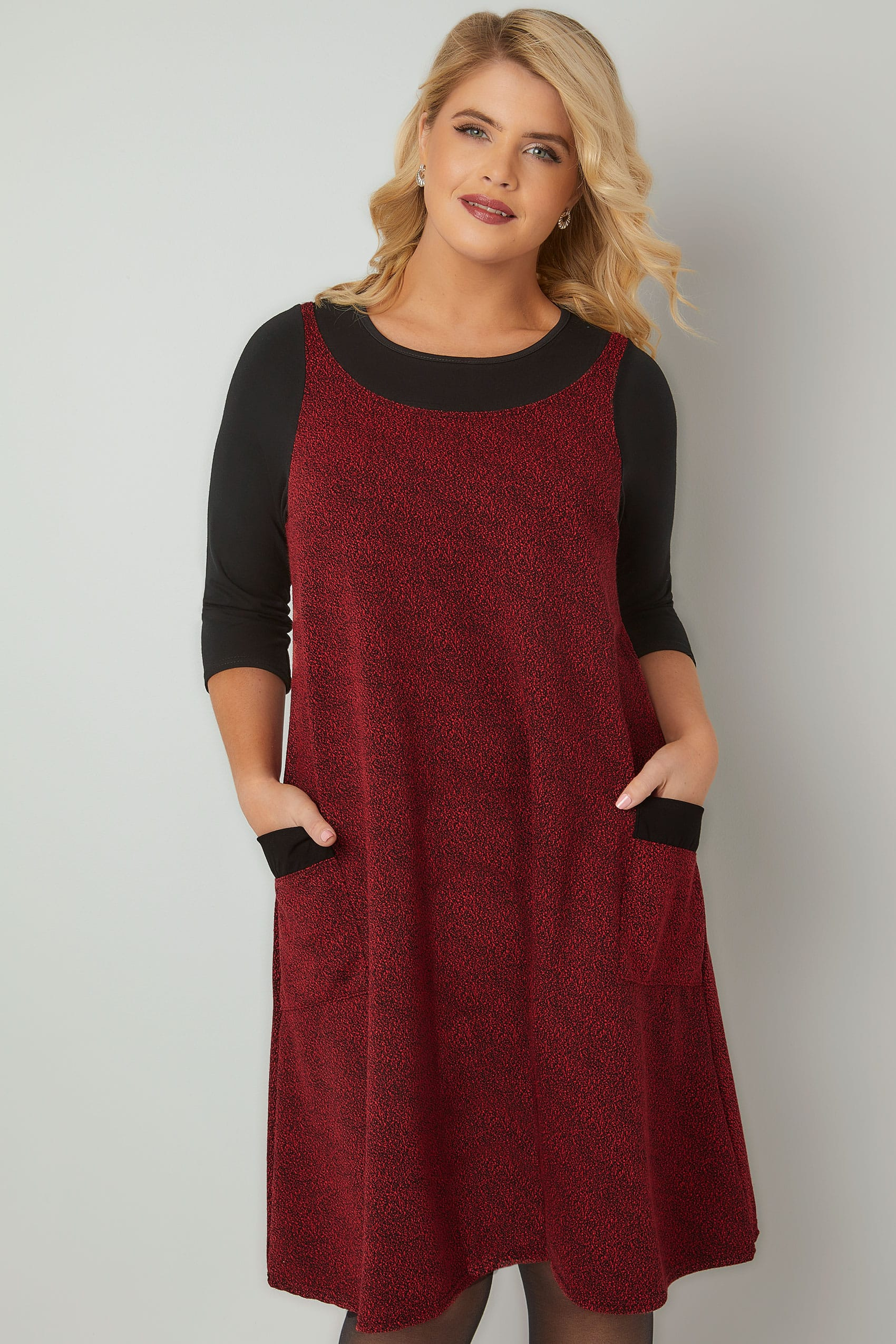 Red Textured Mock Pinafore Dress With Two Pockets, Plus size 16 to 36