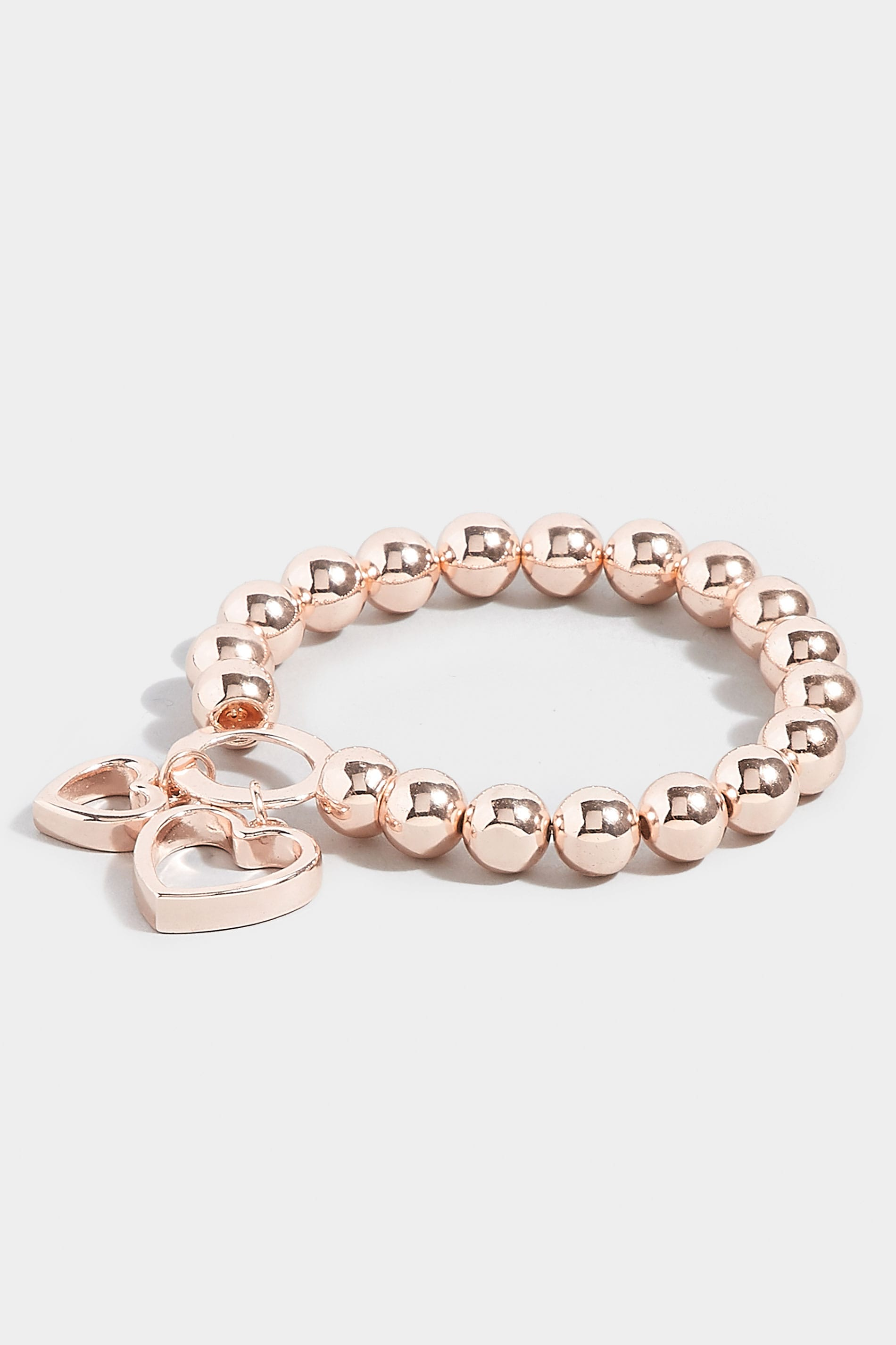 Rose Gold Bead Bracelet With Heart Pendants