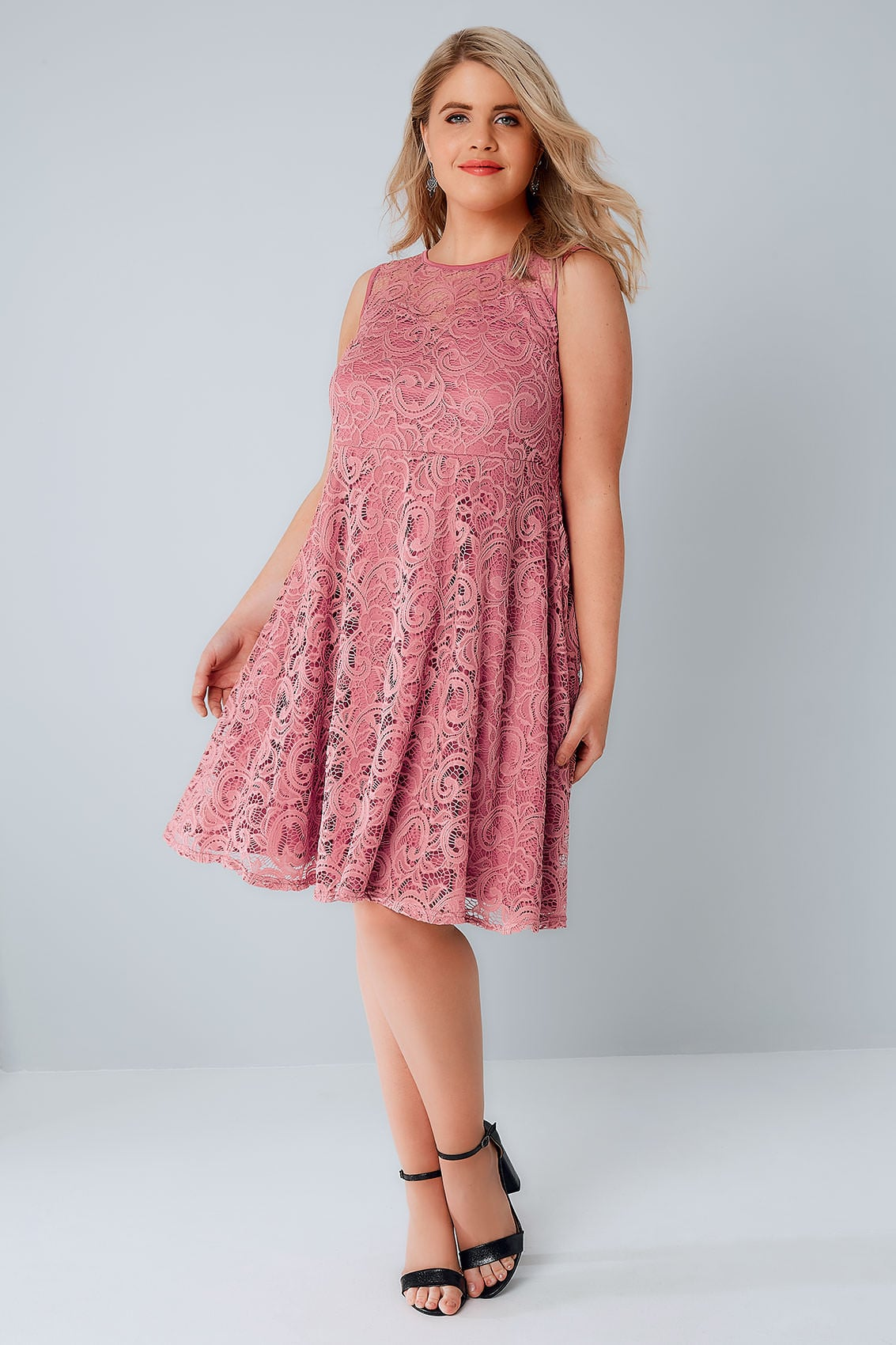 Rose Pink Lace Skater Dress With Sweetheart Neckline plus ...