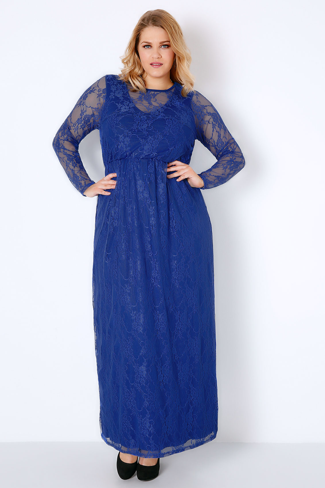 Royal Blue Lace Overlay Maxi Dress With Elasticated Waist ...