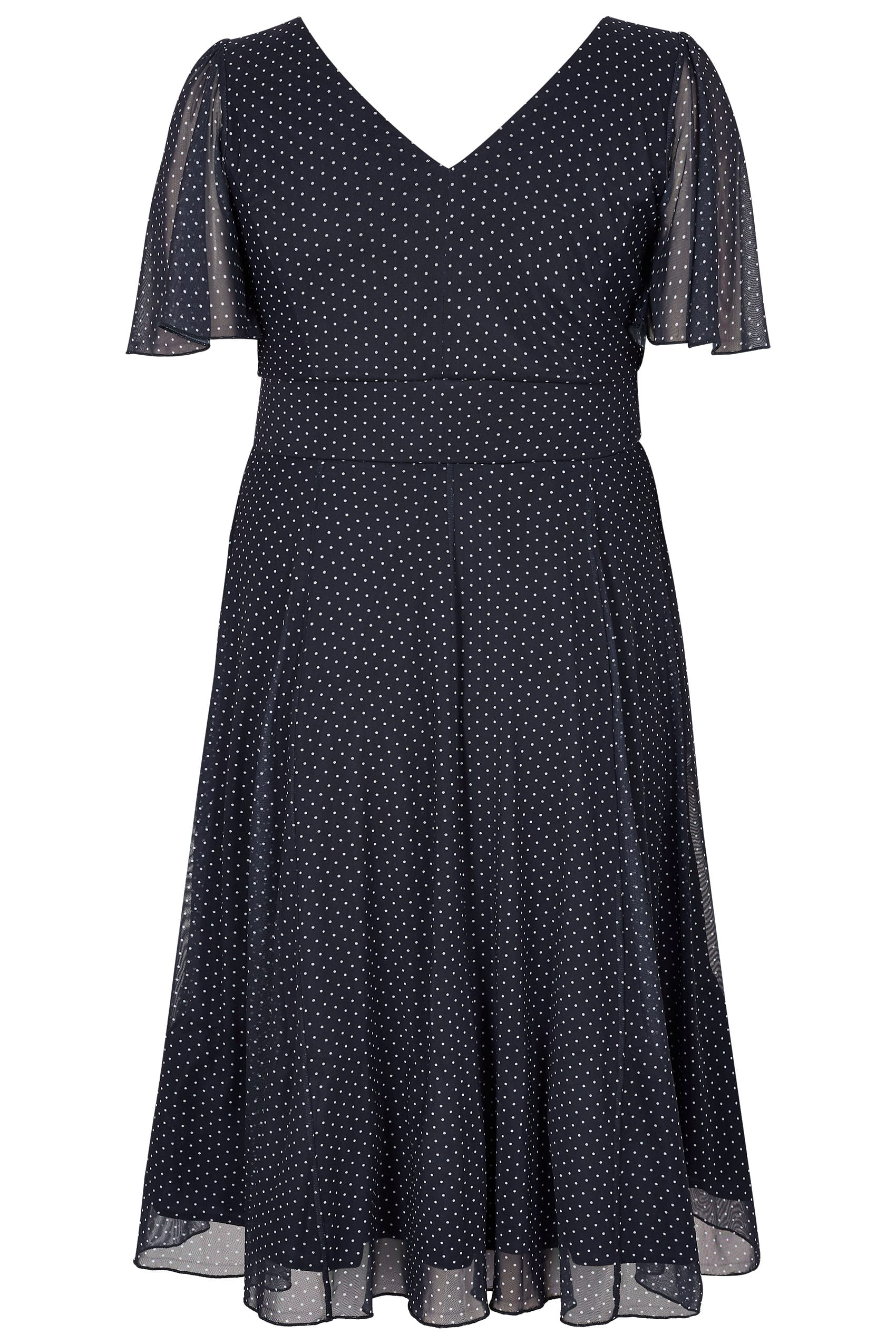 SCARLETT & JO Navy & White Polka Dot Midi Dress With Angel ...