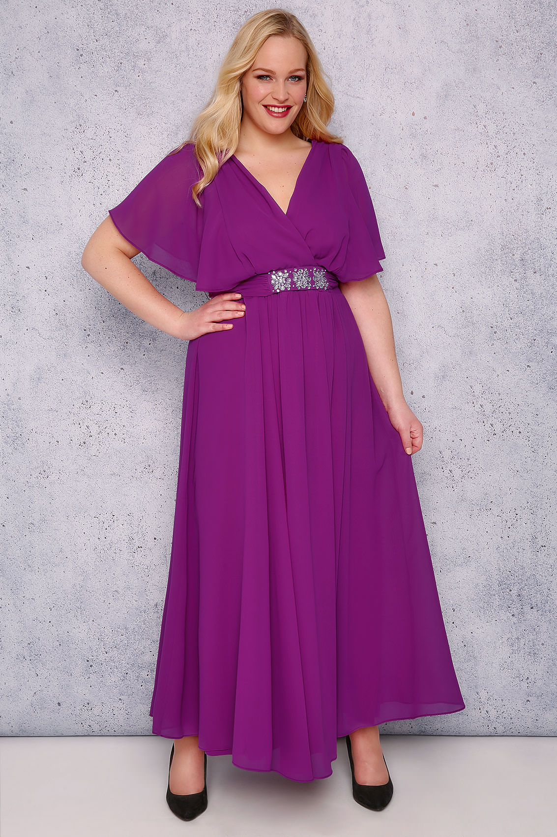SCARLETT & JO Purple Chiffon Maxi Dress With Embellished Waist Tie ...