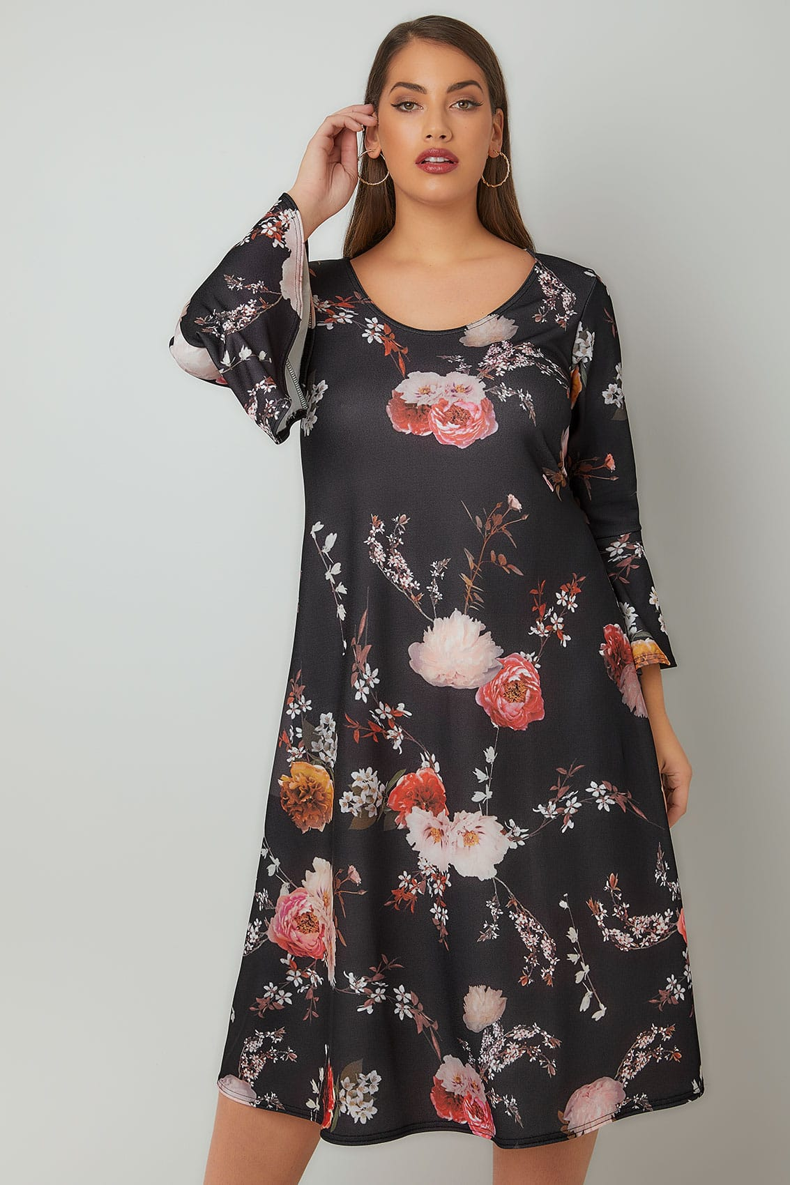 Dark Floral Dress Plus Size
