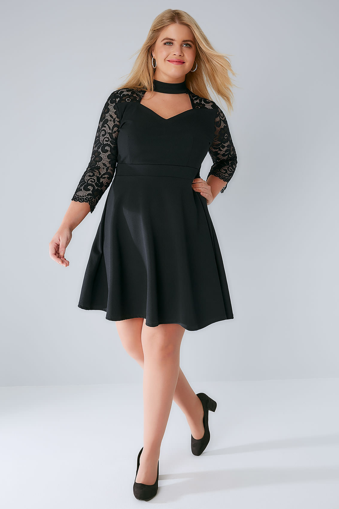 sienna couture black skater dress with lace sleeves & choker neck