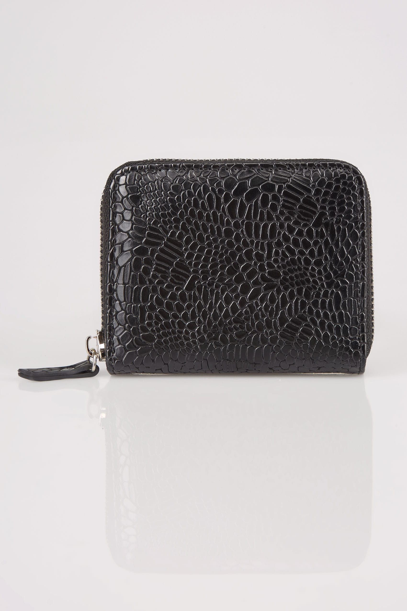 Black textured snakeskin effect small zip around purse for Buy here pay later