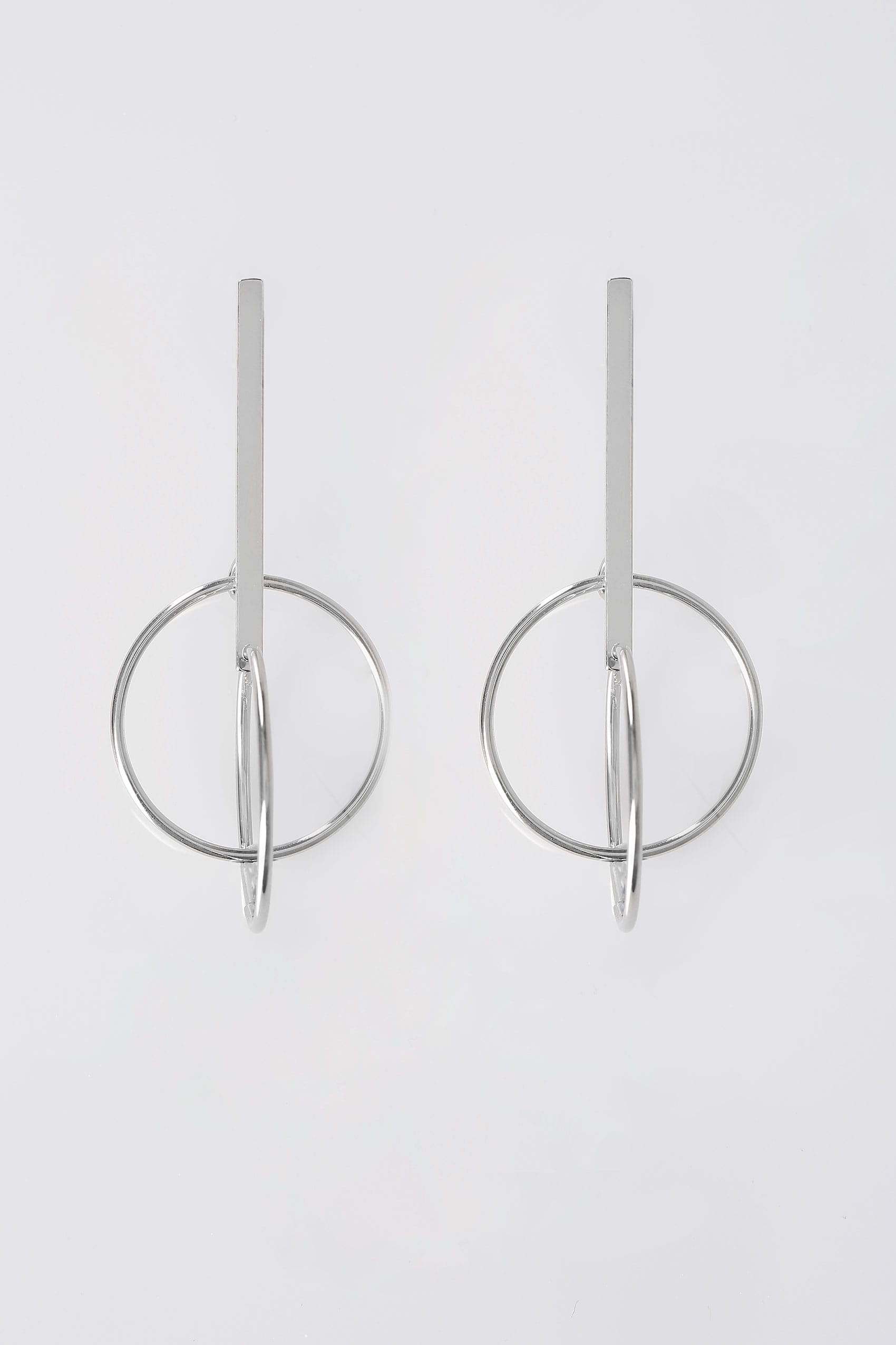 silver bar  u0026 circle earrings