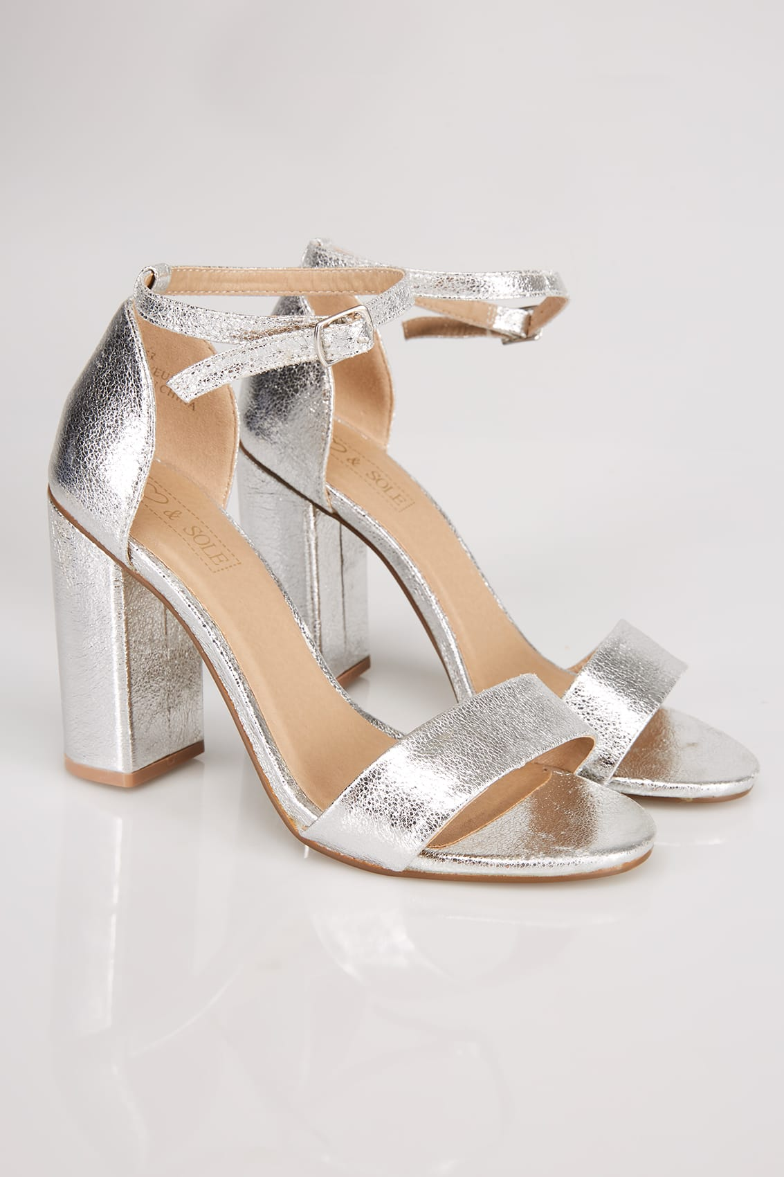 Silver Comfort Insole Block Heel Mary Sandal In E Fit