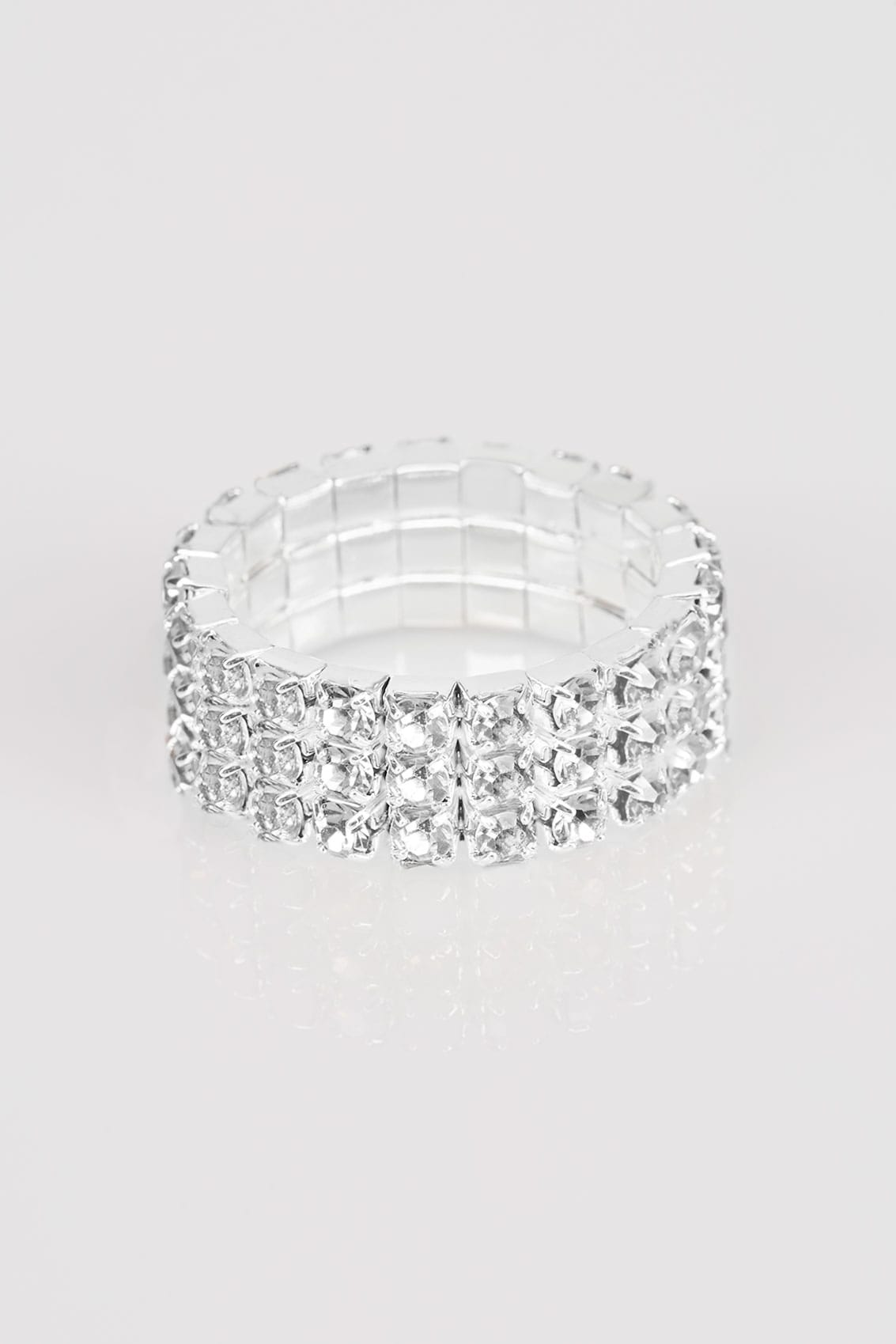 zilver diamante stretch ring