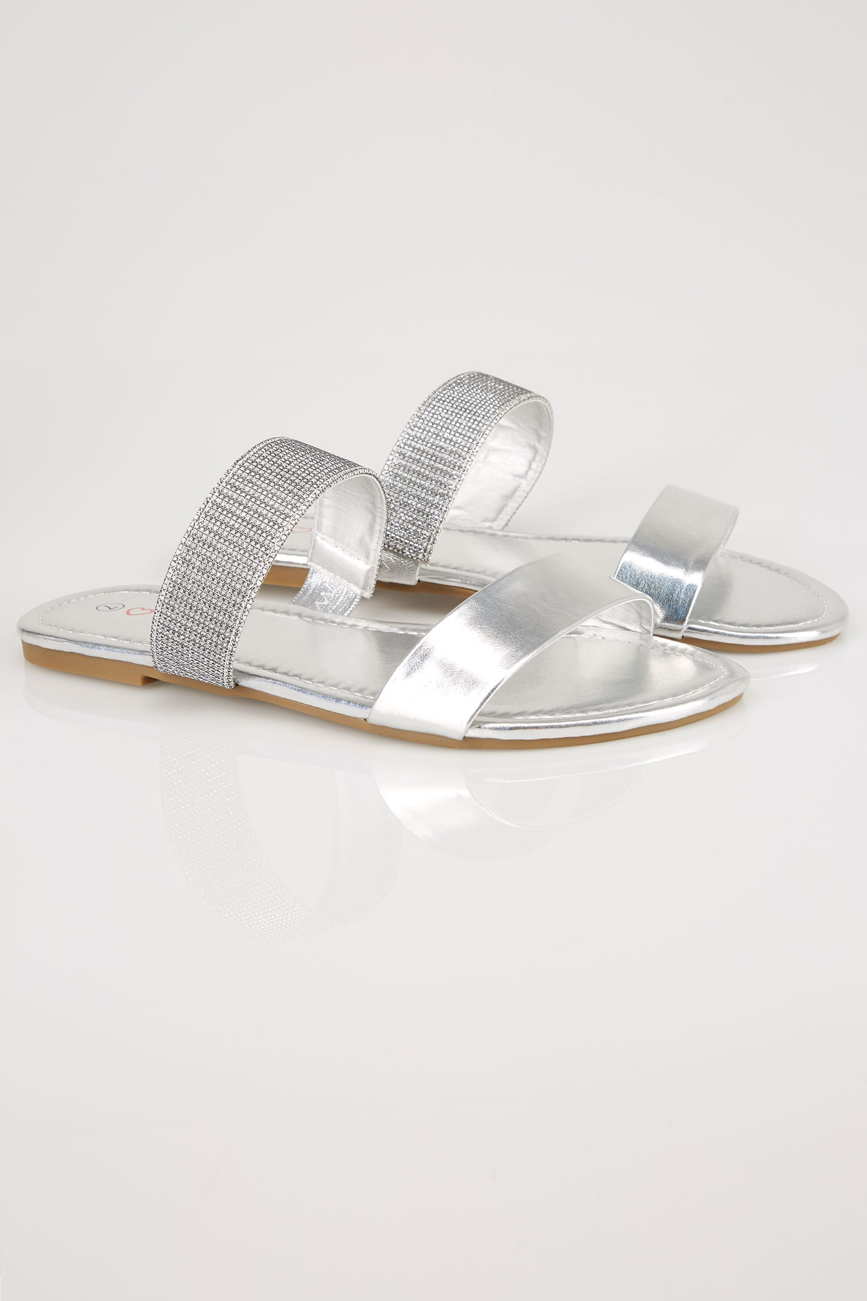 Silver Double Strap Slider Sandals In Eee Fit-4195