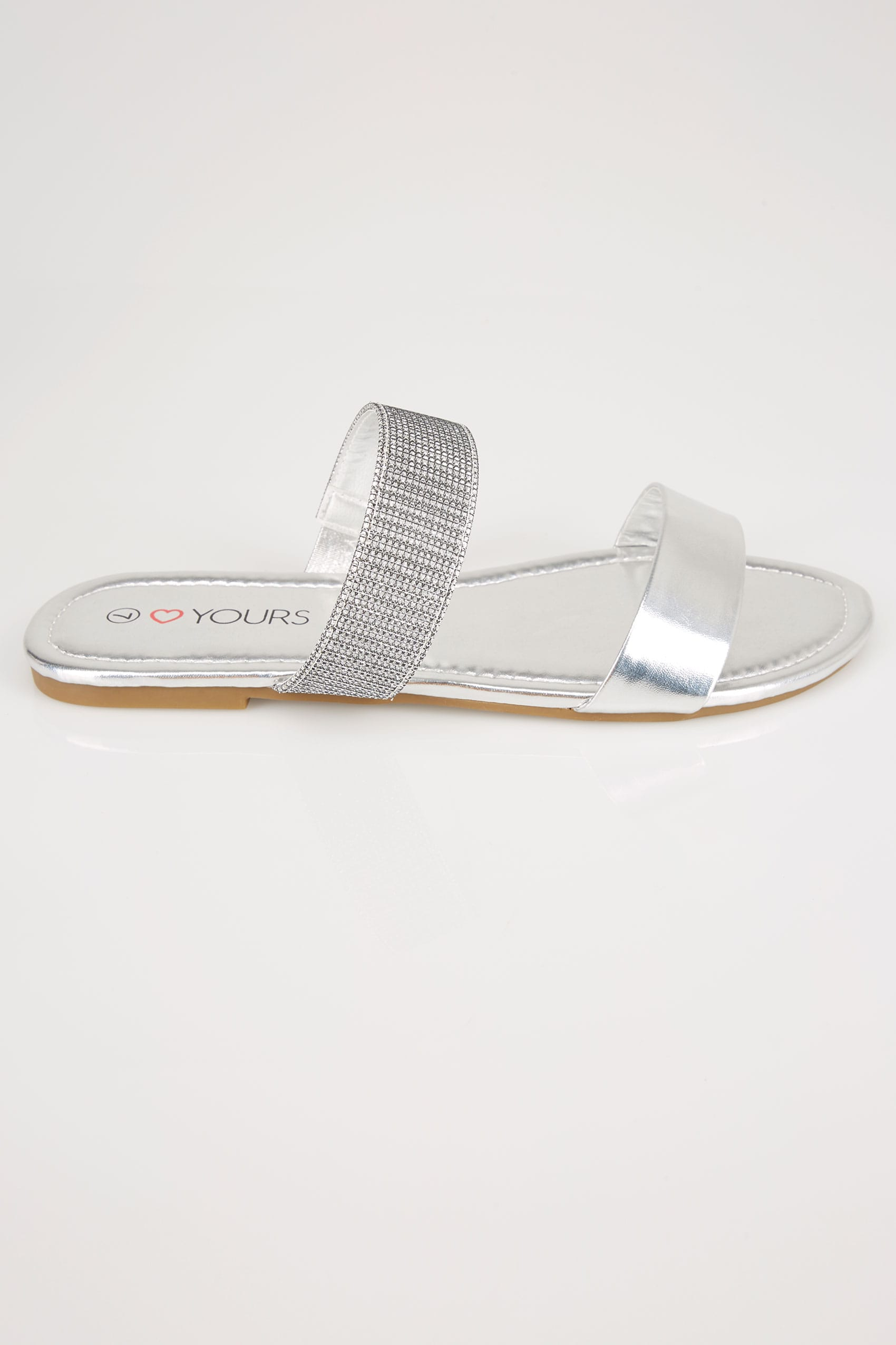 Silver Double Strap Slider Sandals In Eee Fit-3257