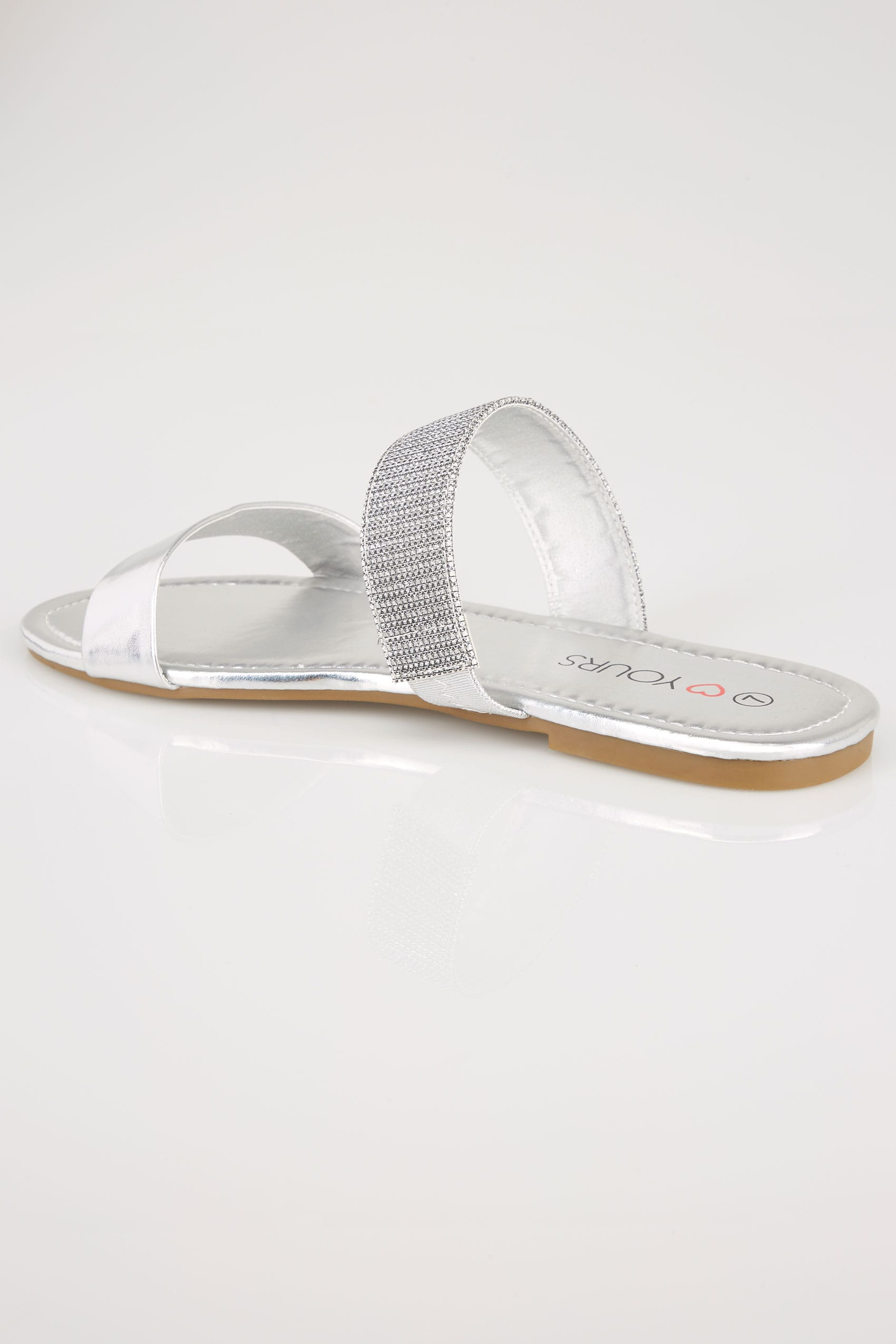 Silver Double Strap Slider Sandals In Eee Fit-1757