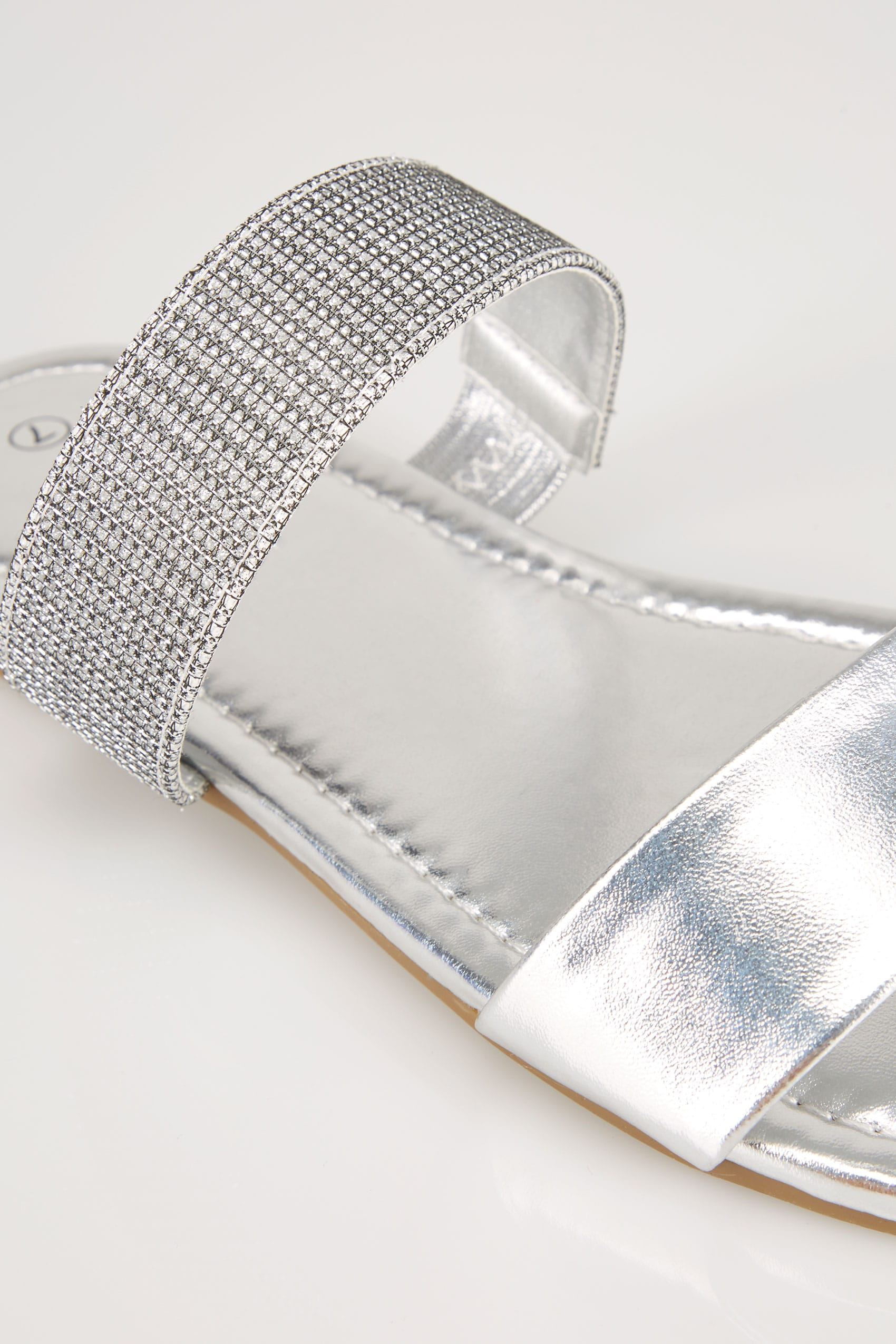 Silver Double Strap Slider Sandals In Eee Fit-1217