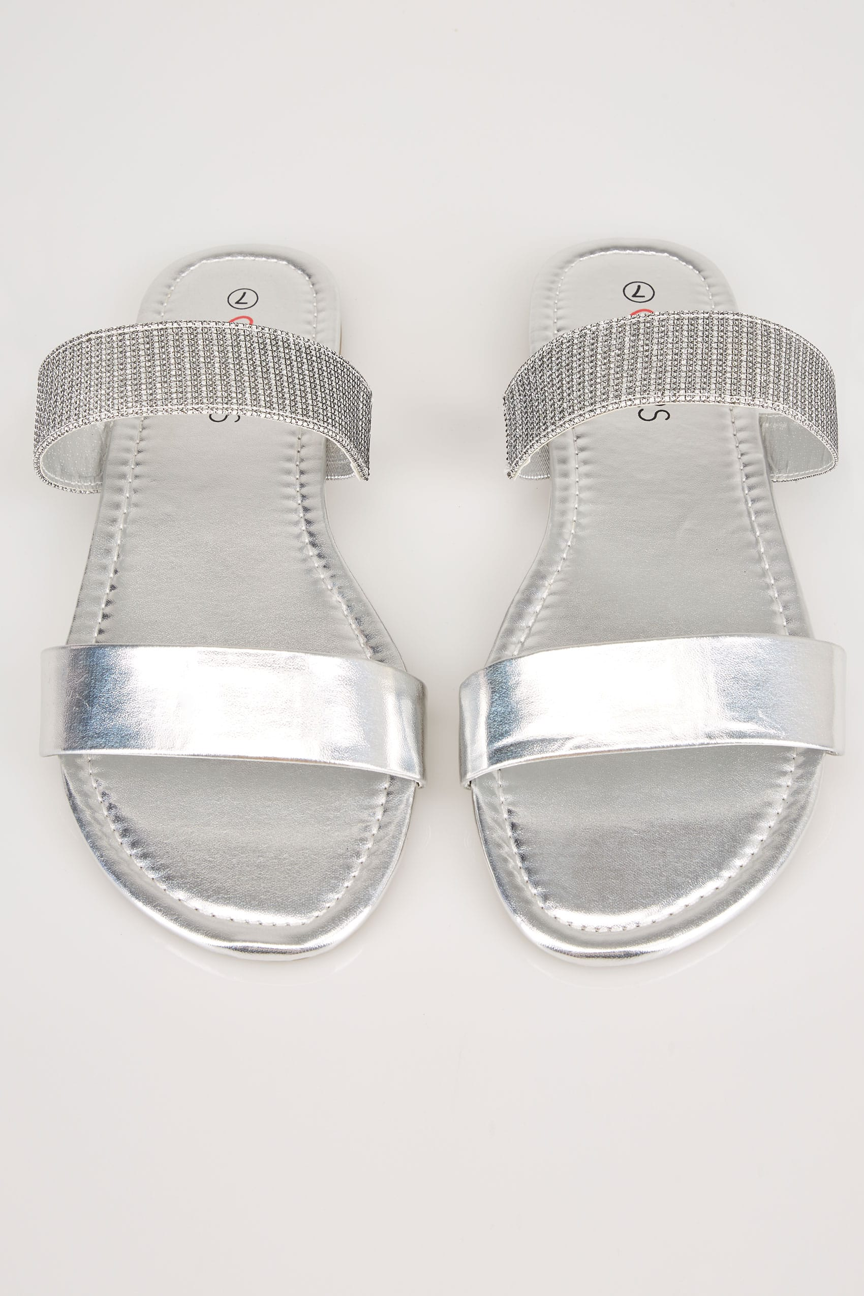 Silver Double Strap Slider Sandals In Eee Fit-5383