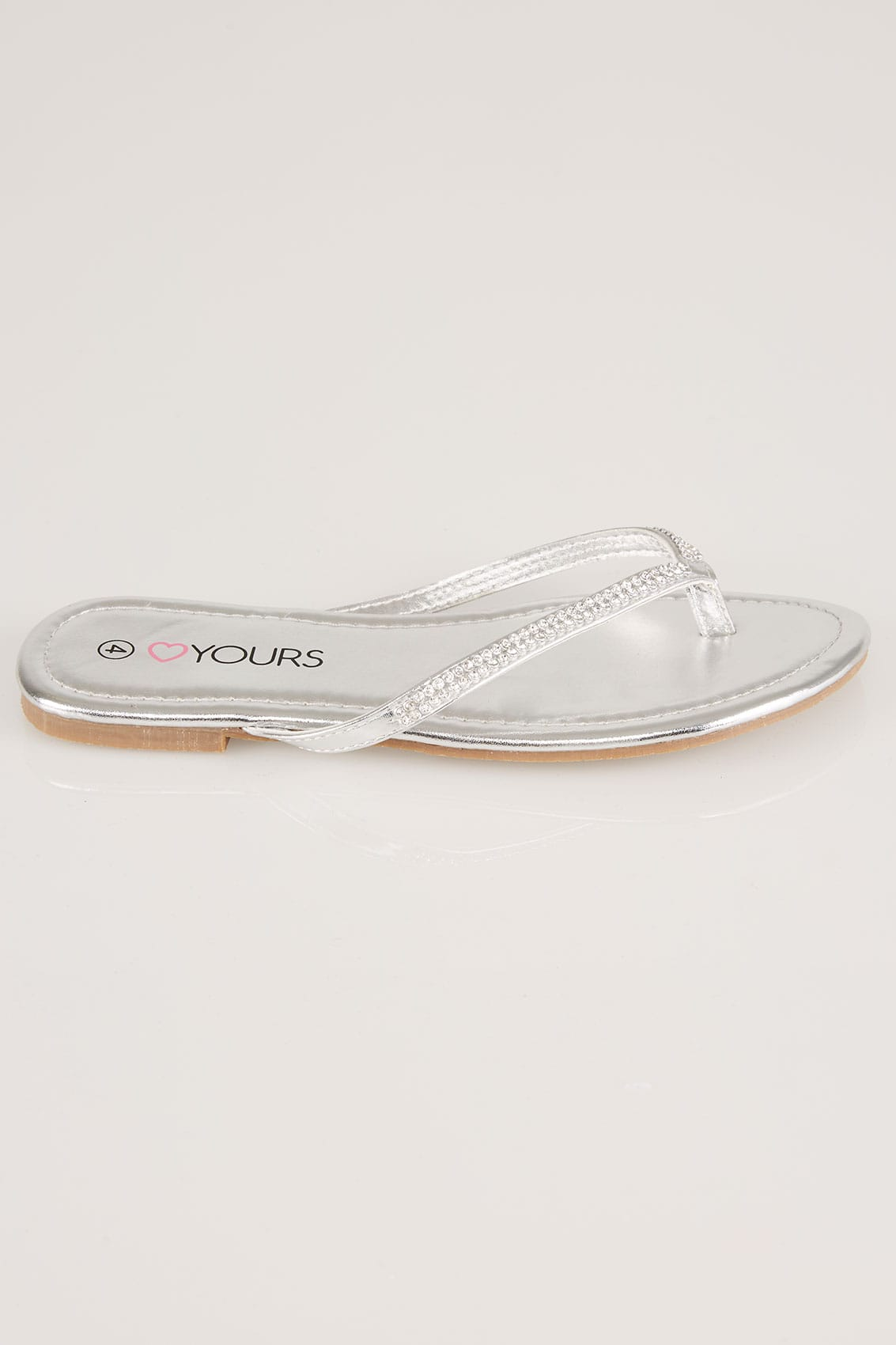 d8487d291533 Silver Flip Flop With Diamante Trim In EEE Fit