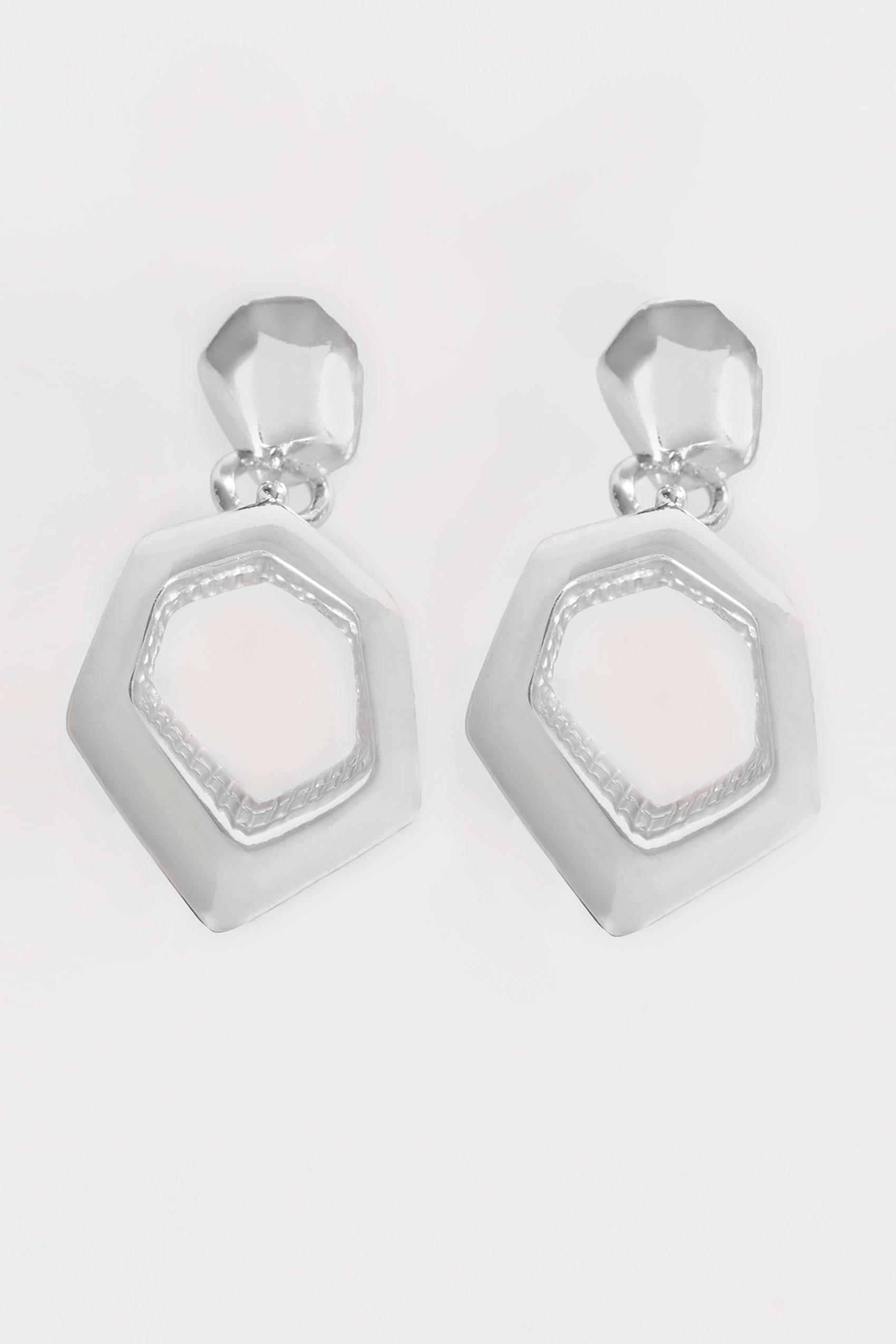jewellery made hoops mini earrings hexagon silver