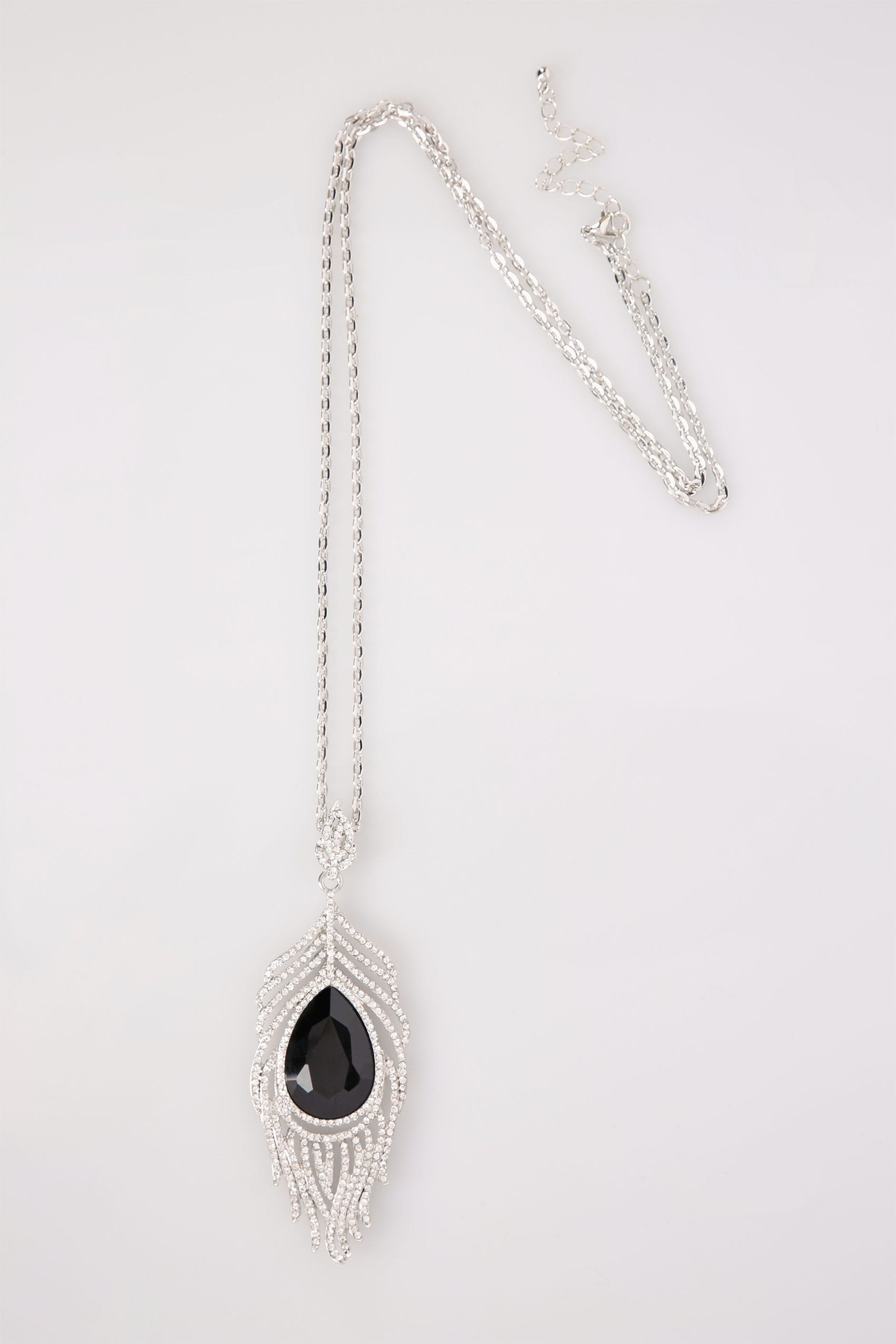 Silver long peacock feather pendant drop necklace aloadofball Image collections