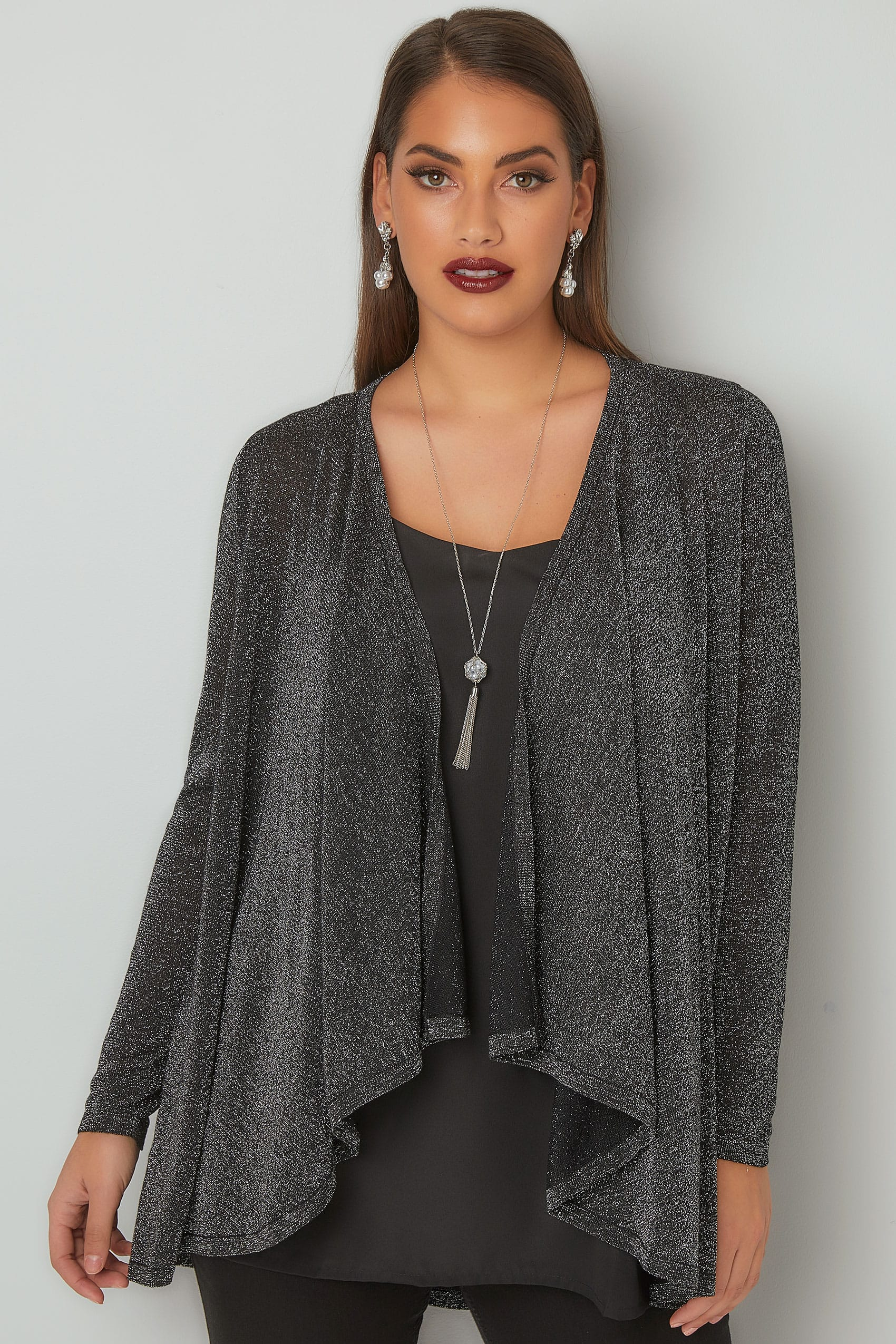Silver Metallic Waterfall Cardigan, Plus size 16 to 36