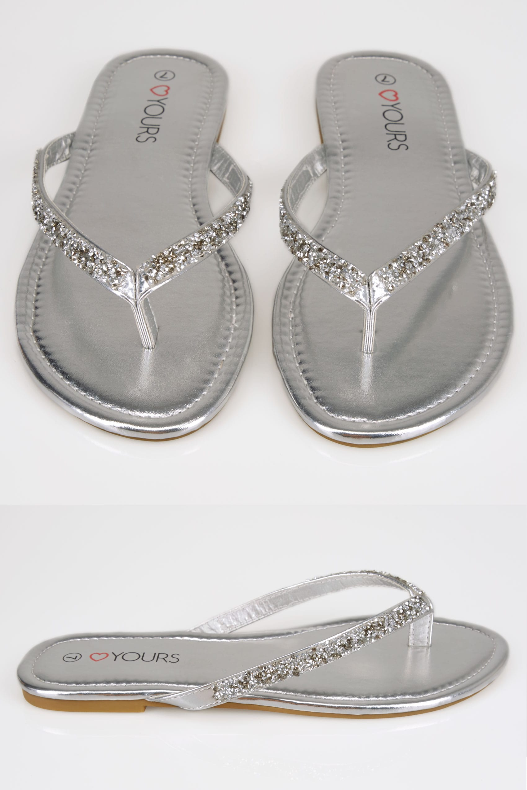 Silver Sandals With Glitter Straps In Eee Fit