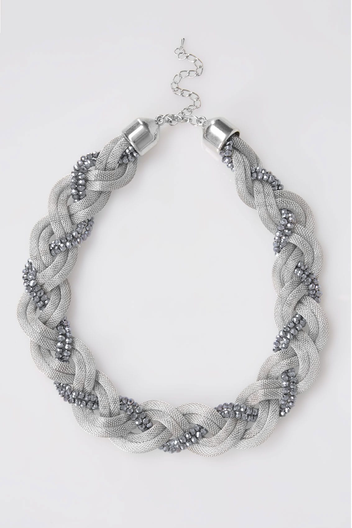 Silver snake chain bead twisted necklace for Buy here pay later