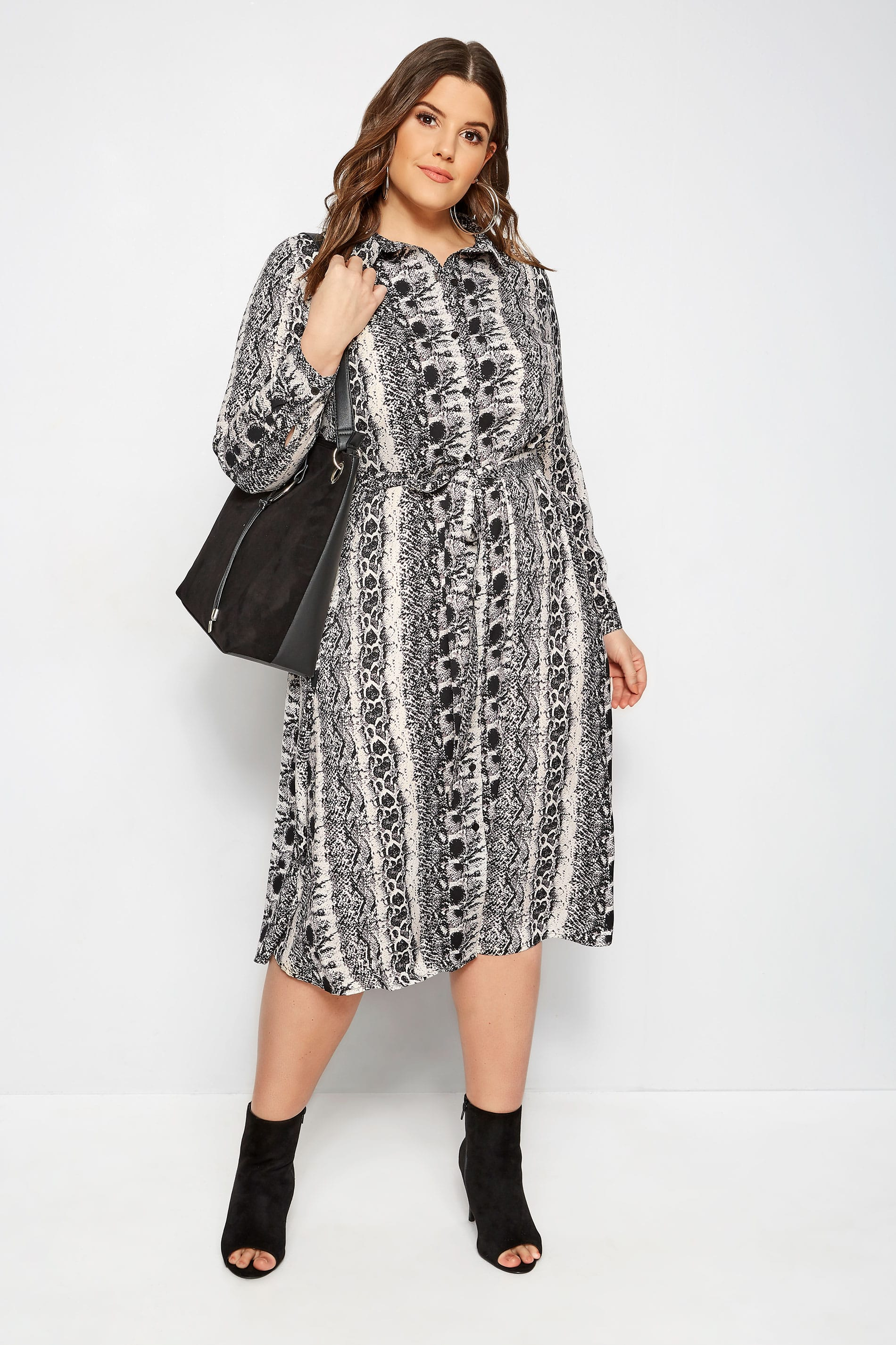 55ae50be3e7 Plus Size Snake Print Shirt Dress | Sizes 16 to 36 | Yours Clothing