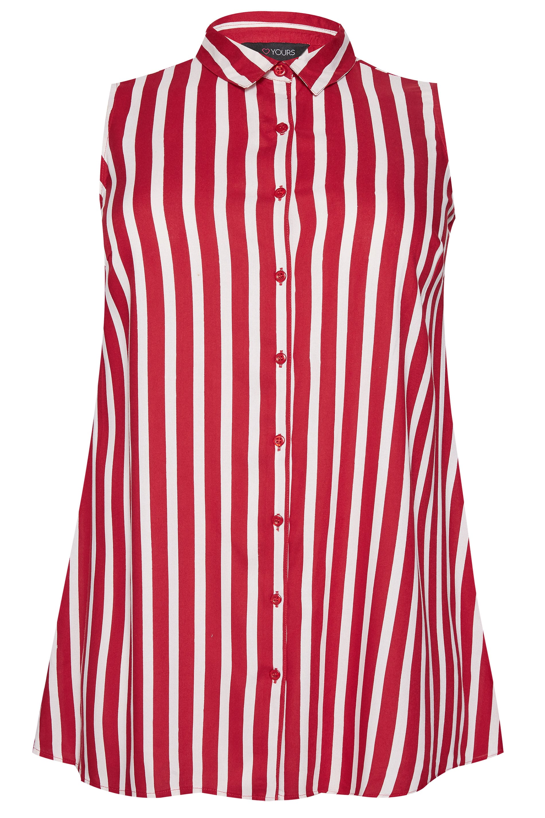 2c288c7f0 Red Button Up Sleeveless Shirt | Sizes 16-36 | Yours Clothing