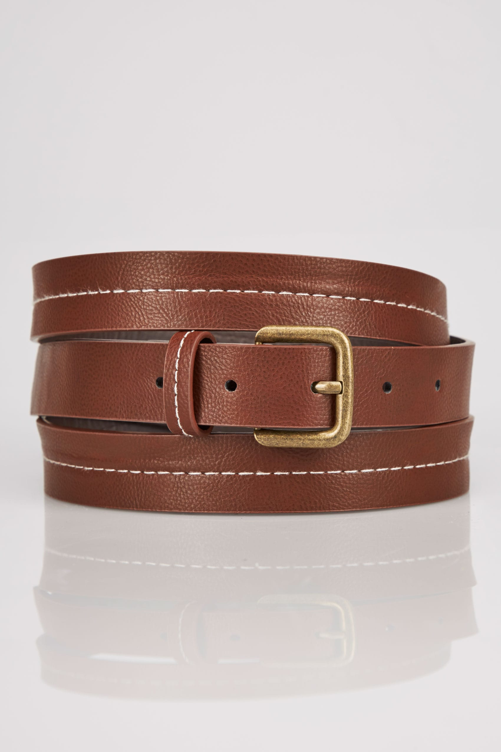 Tan stitched belt with pin buckle fastening plus size 16 for Buy here pay later